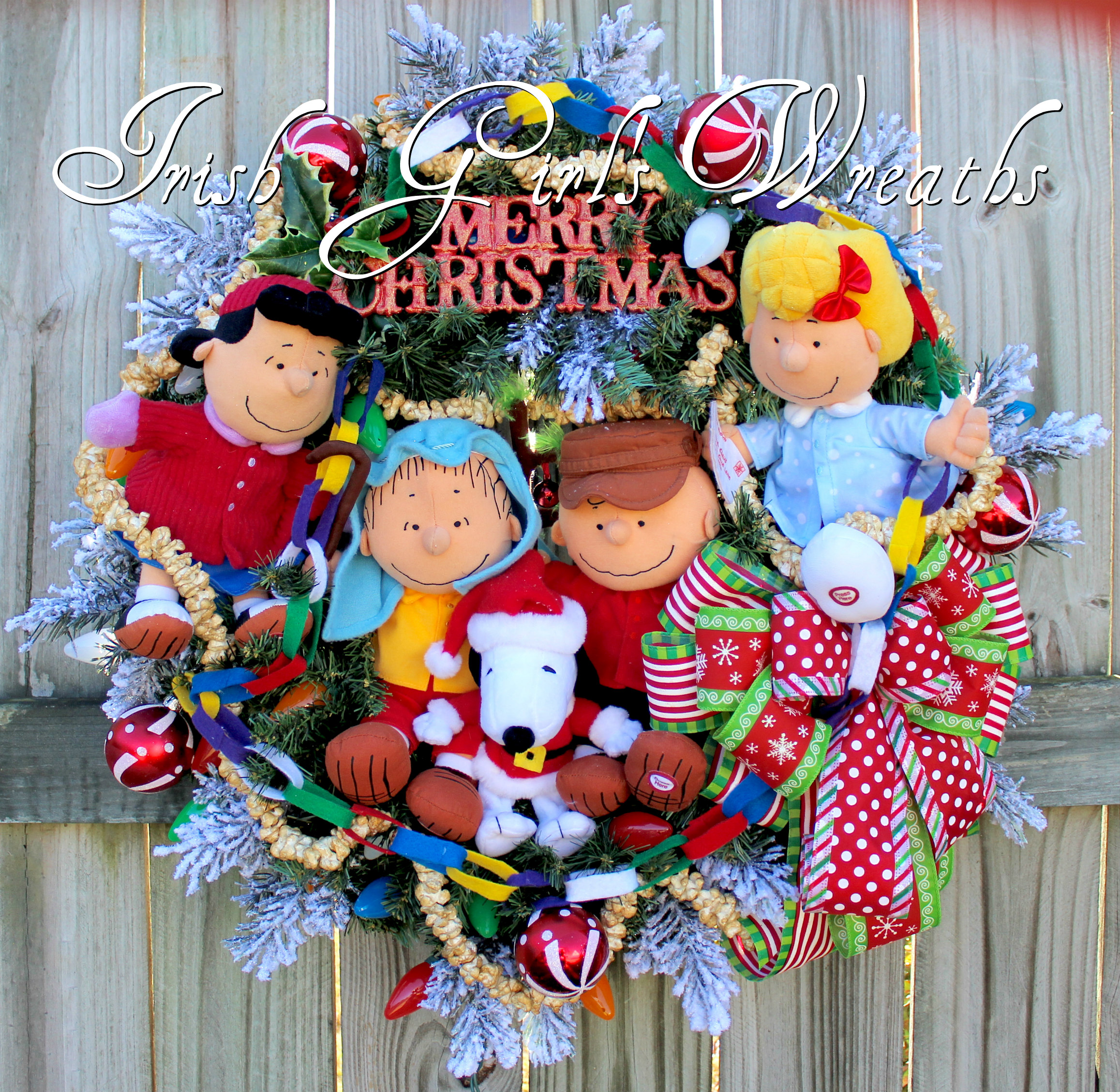 Deluxe Peanuts Gang Charlie Brown Christmas Wreath- featuring Sally, Lucy, Snoopy, Charlie and Linus , Custom for Lynda