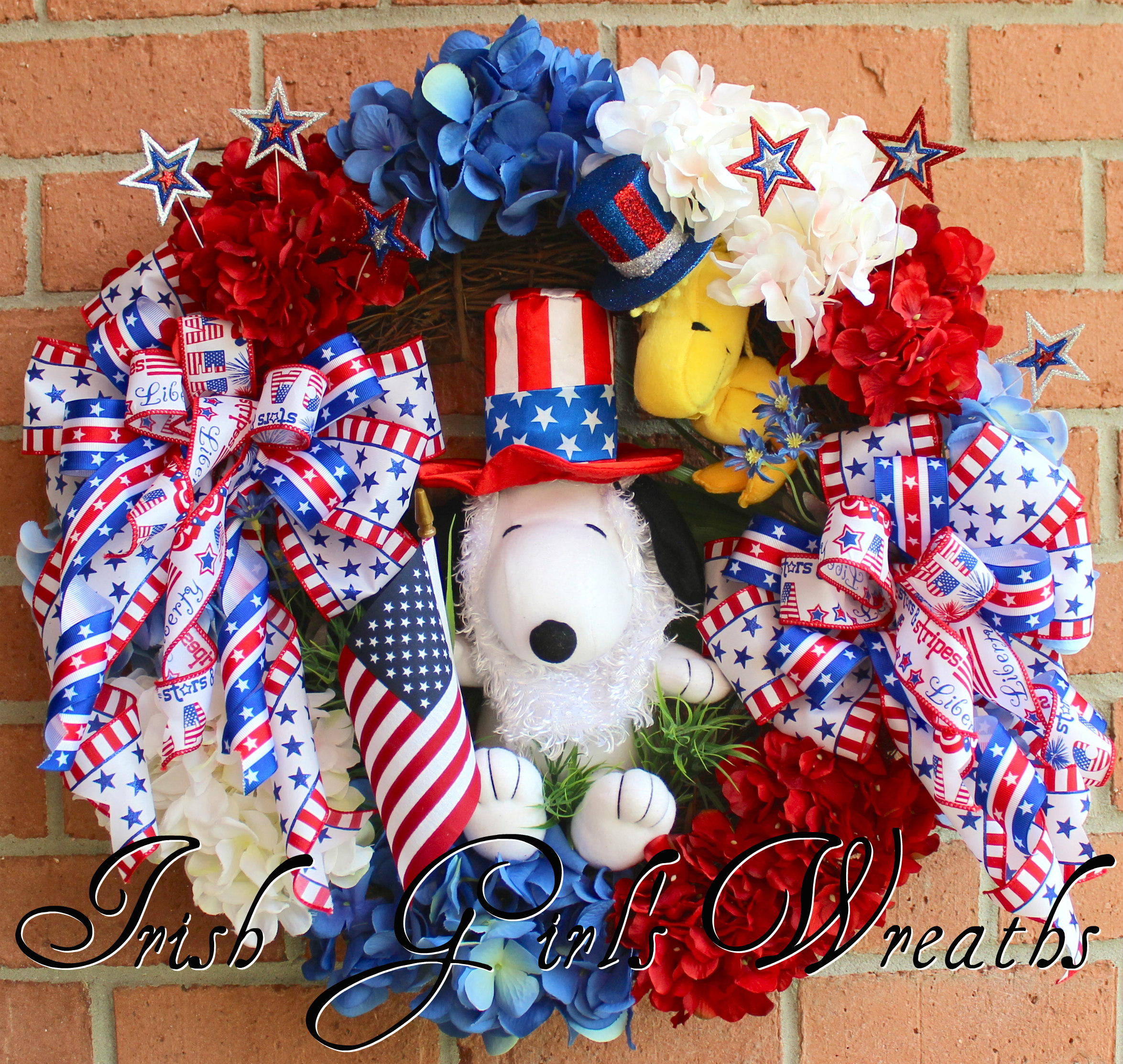 Snoopy and Woodstock Peanuts Patriotic Wreath, Custom for Sherri