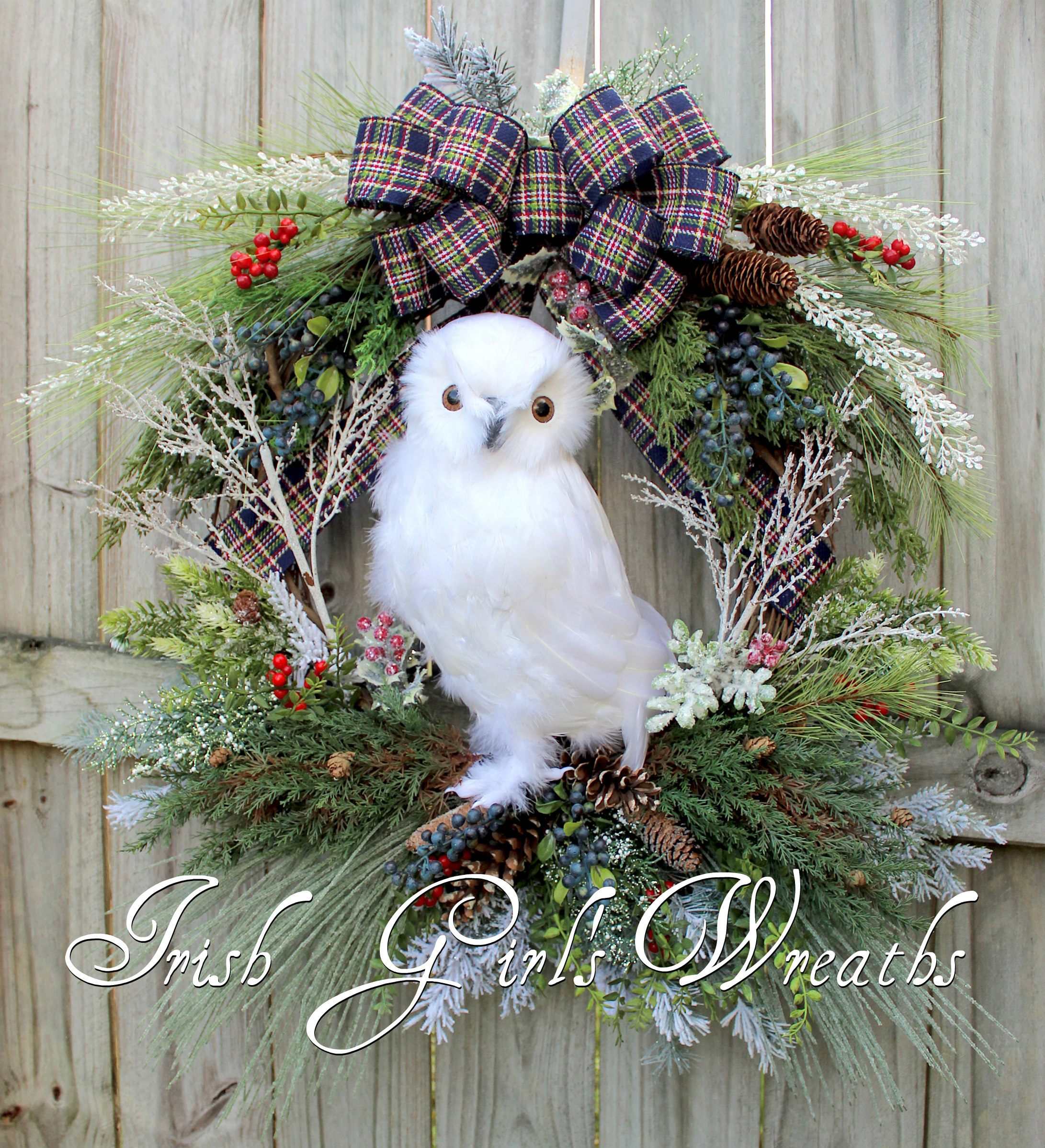 XL Rustic Snowy Owl Woodland Blue Christmas Wreath