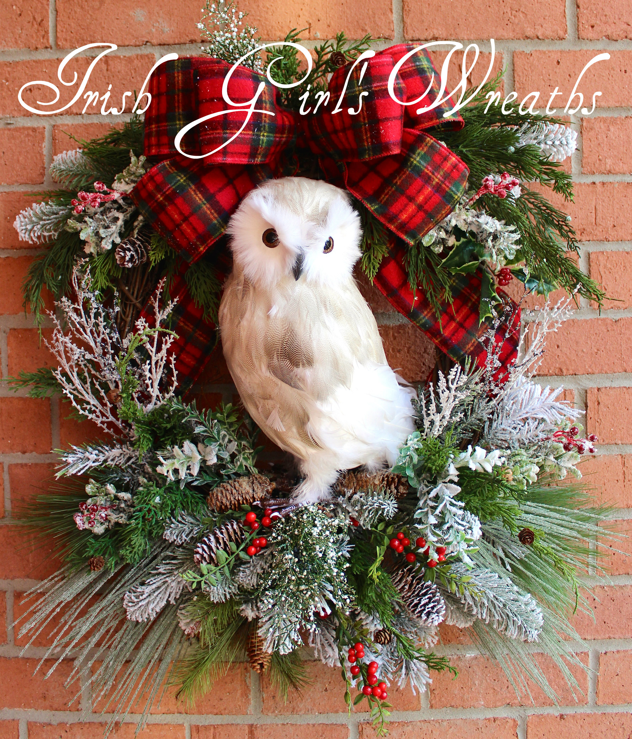 XL Snowy Owl Woodland Christmas Wreath