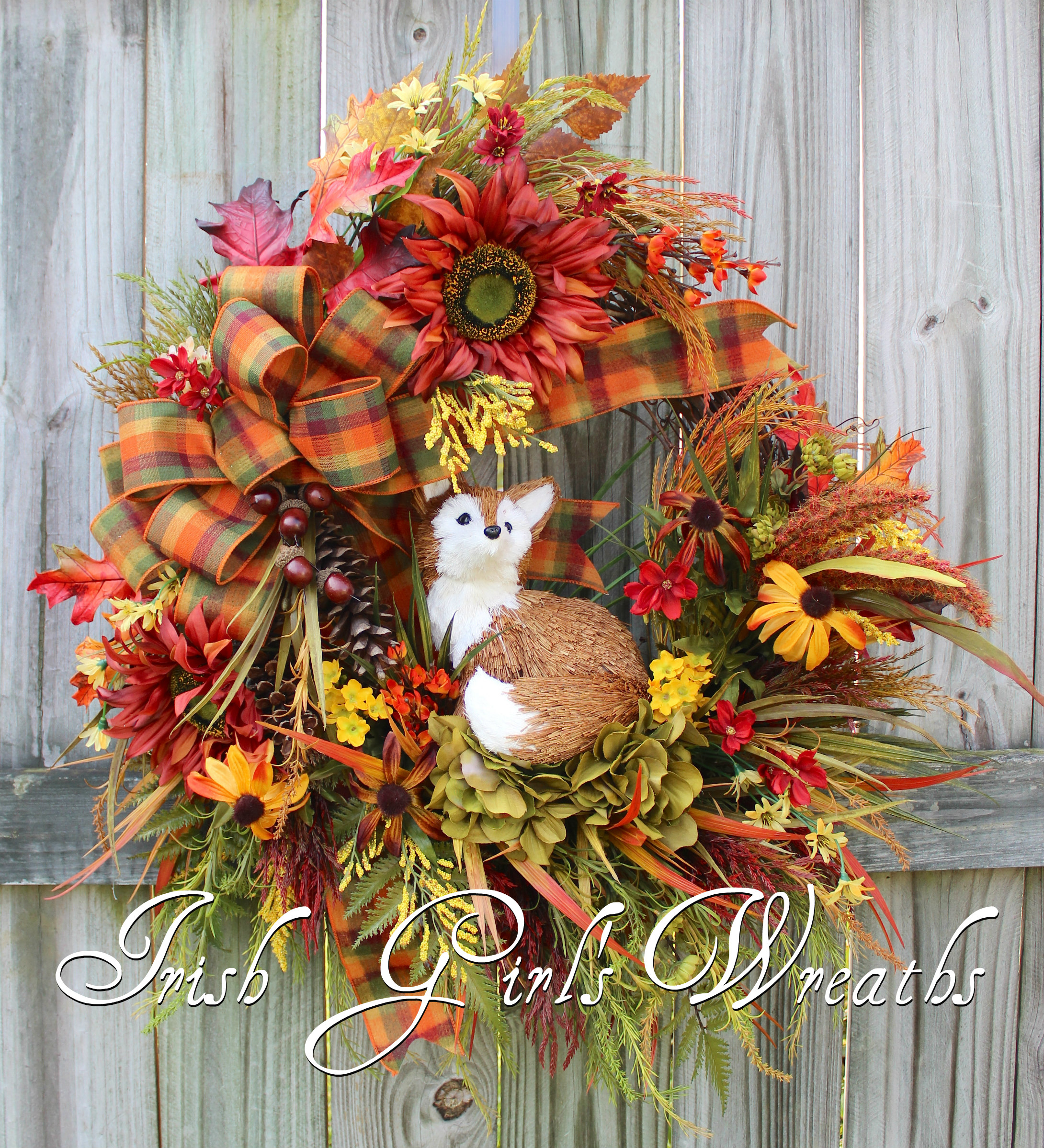 Rustic Fox Fall Meadow Floral Wreath