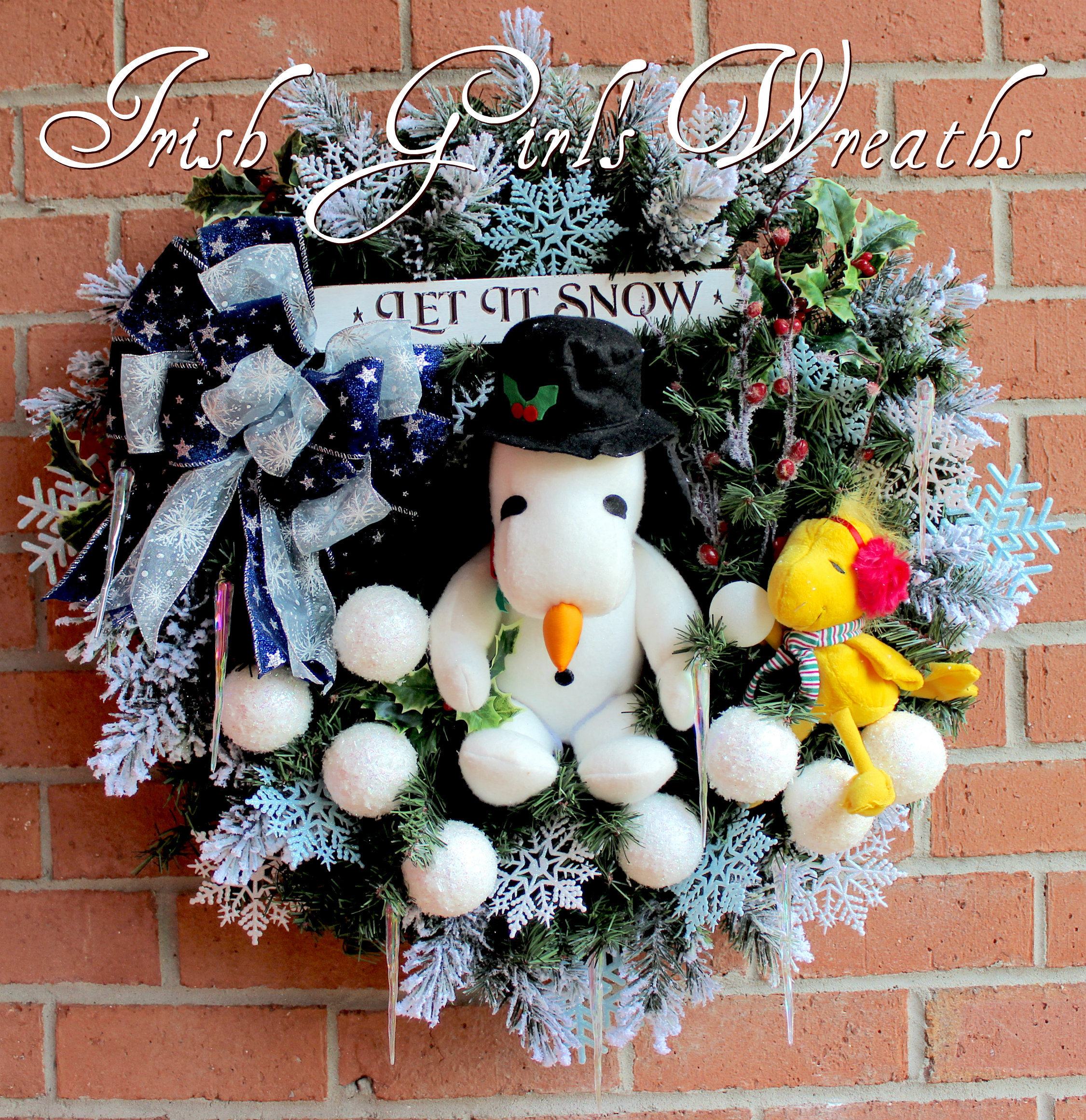 Winter Snowman Snoopy and Woodstock Wreath, custom order for Jessica