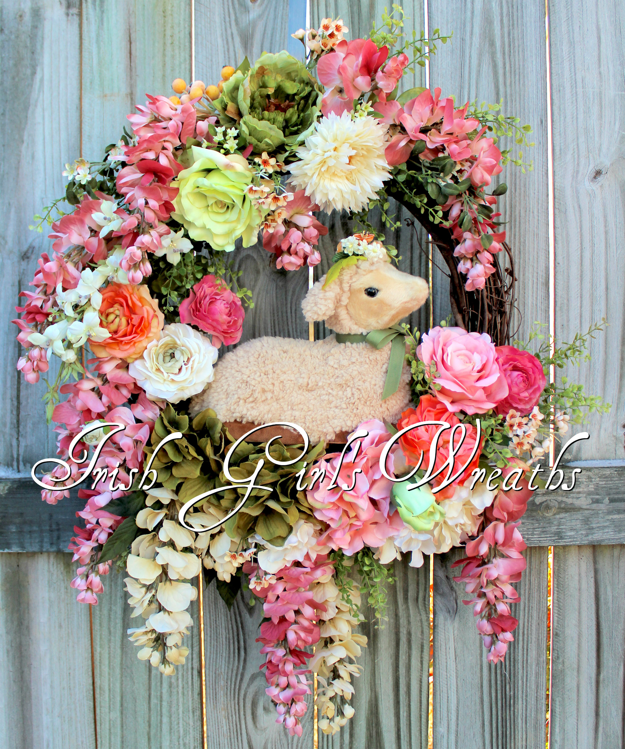 Spring Lamb Easter Floral Wreath