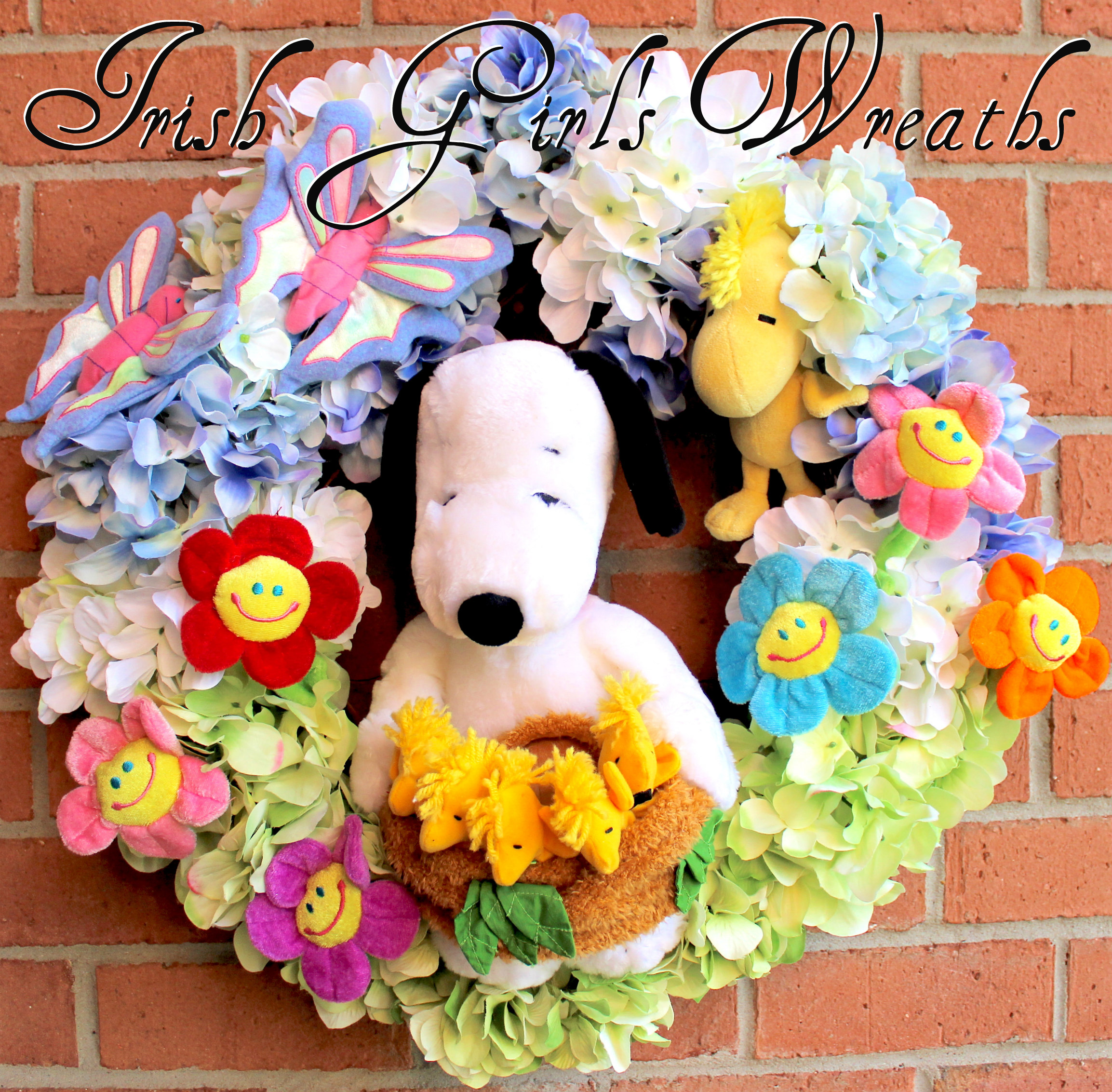 Springtime Snoopy and Proud Papa Woodstock Wreath, custom for Jessica