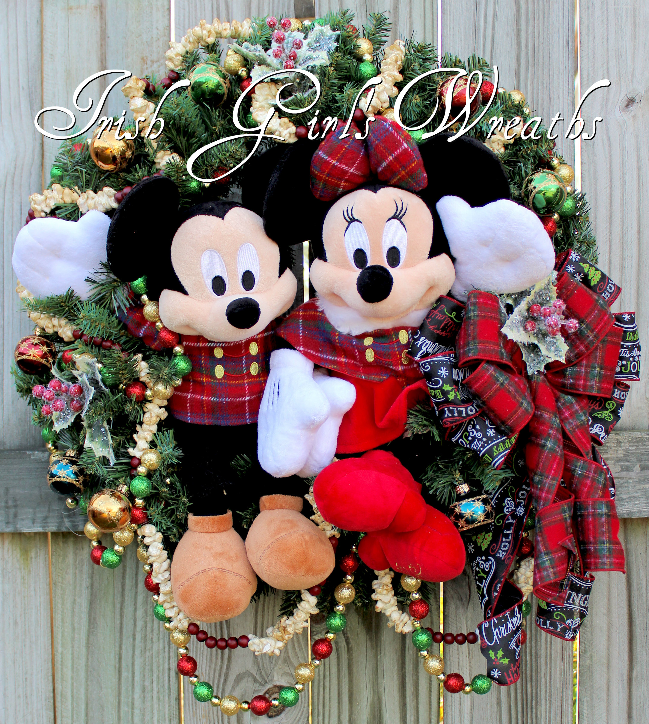 Mickey and Minnie Mouse Traditional Tartan Plaid Christmas Wreath, Disney Christmas