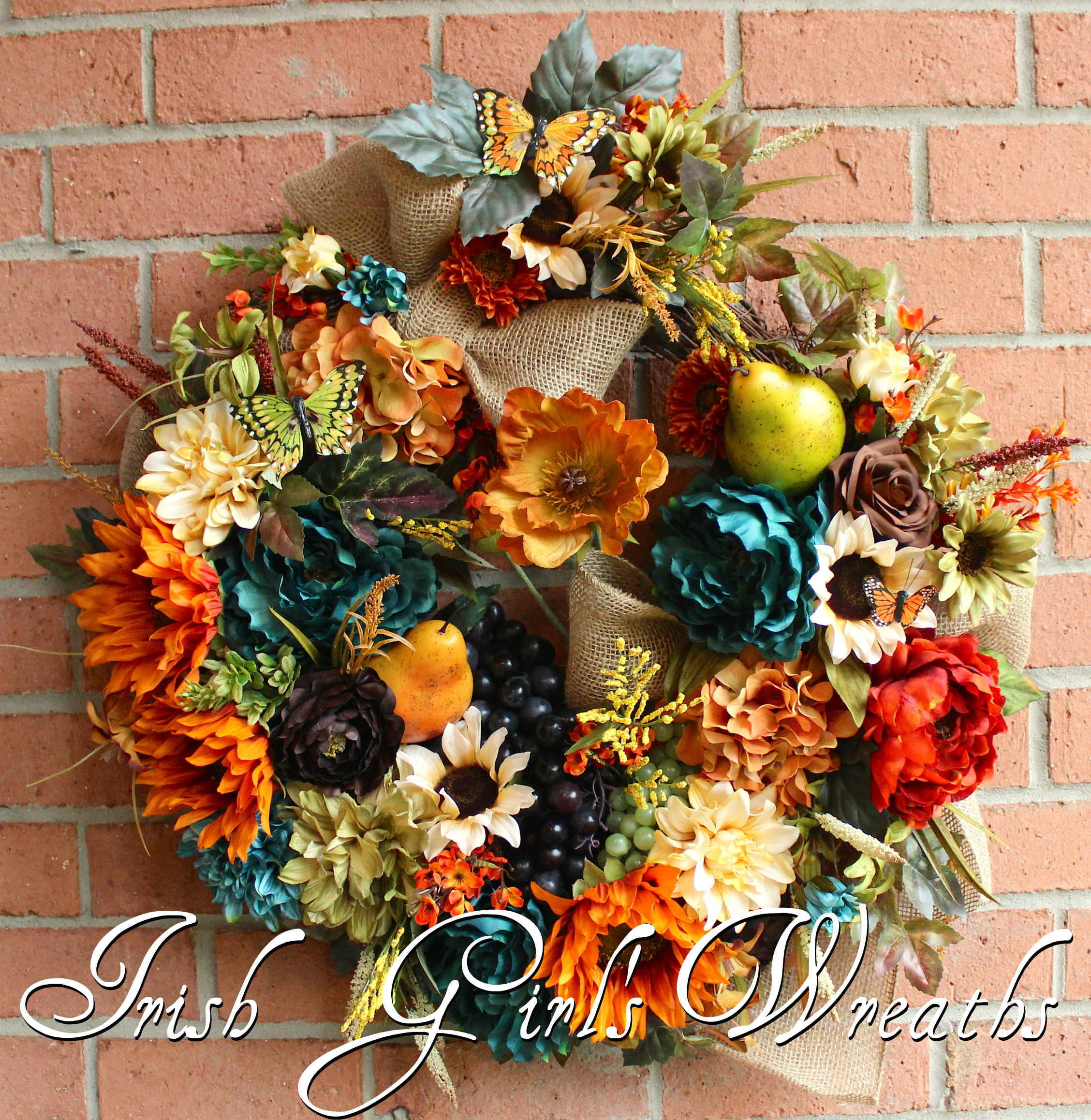 Large Rustic Teal Tuscan Elegance Wreath, French Country Floral Wreath