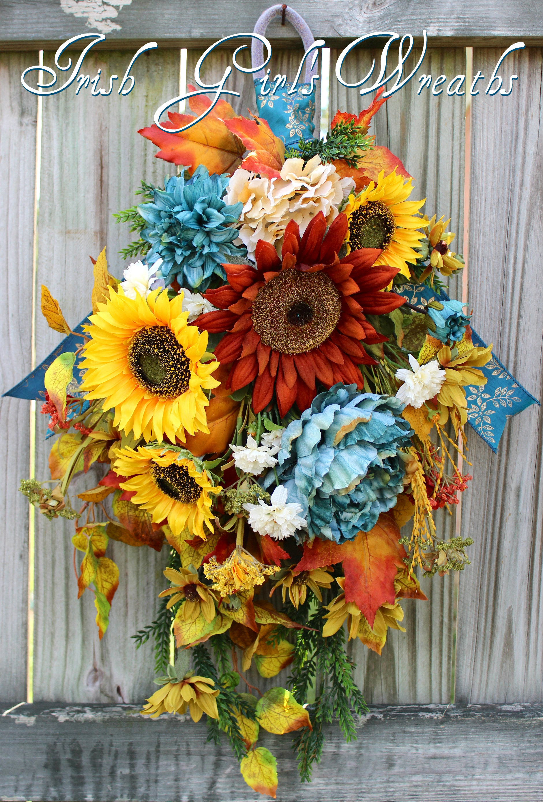 Smokey Teal and Rust Fall Sunflower Swag,  Fall Teal Floral Wreath, Rustic Sunflower Fall Floral Swag