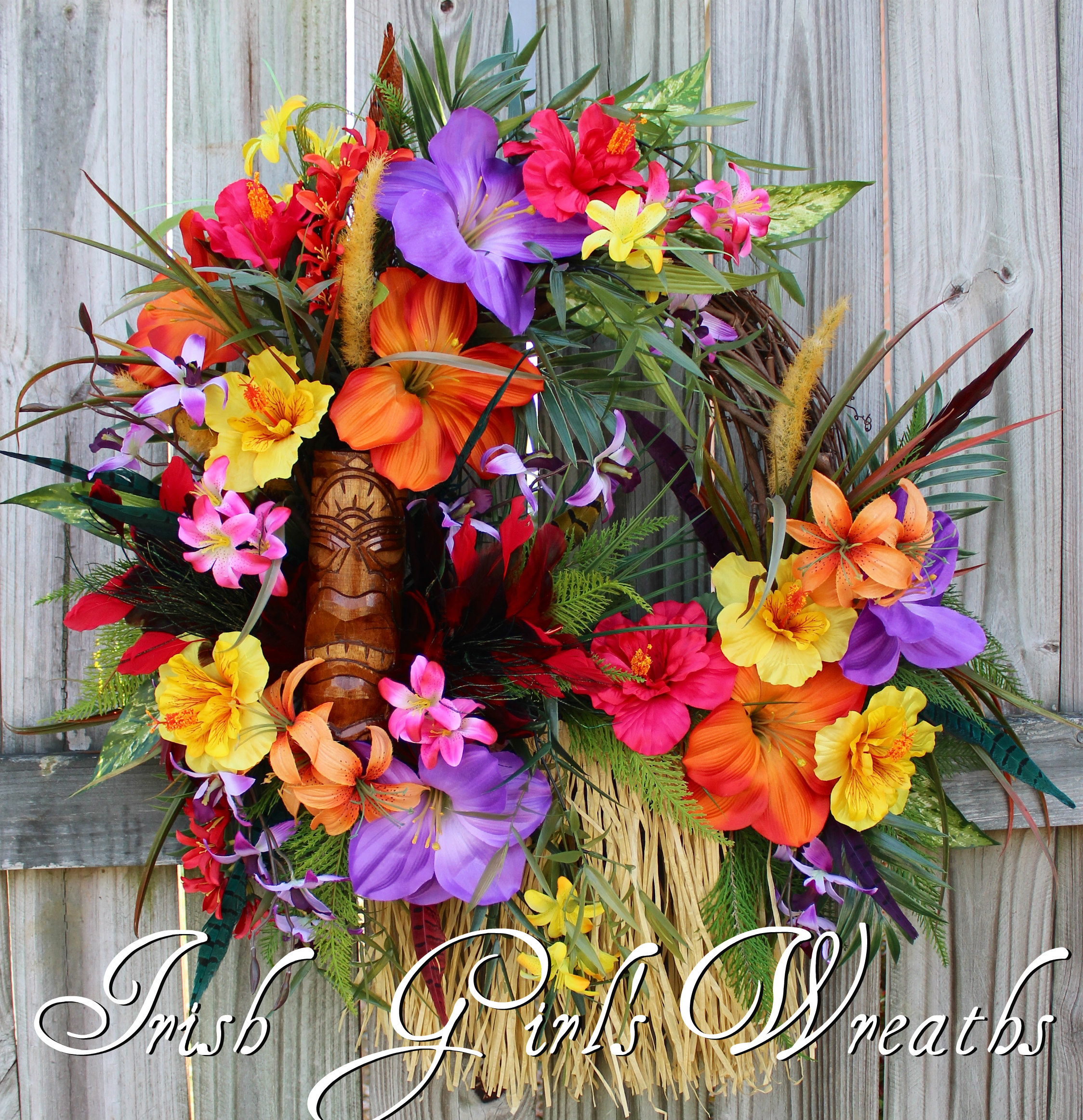 Tiki Island Voodoo Magic Tropical Wreath, Summer Wreath, Hibiscus Wreath, Tiki Totem, Luau