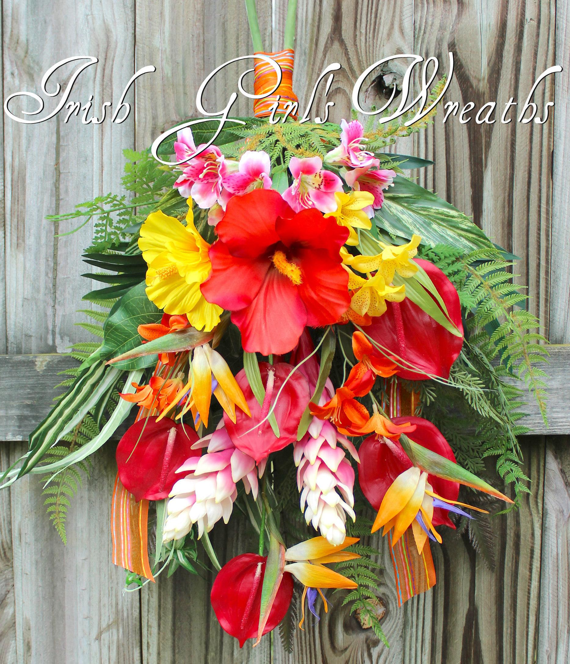 Tropical Island Garden Summer Swag, Summer Luau Floral Swag, Tropical Wreath,  Hibiscus Door