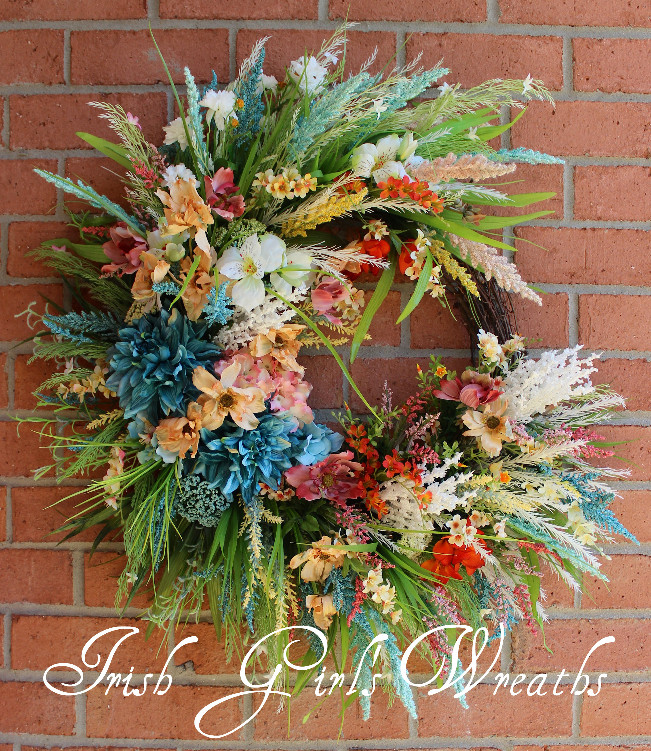 Deluxe Extra Large Turquoise Coastal Wreath, Beach Sunrise Wreath, Summer Wreath, Peach teal yellow rose