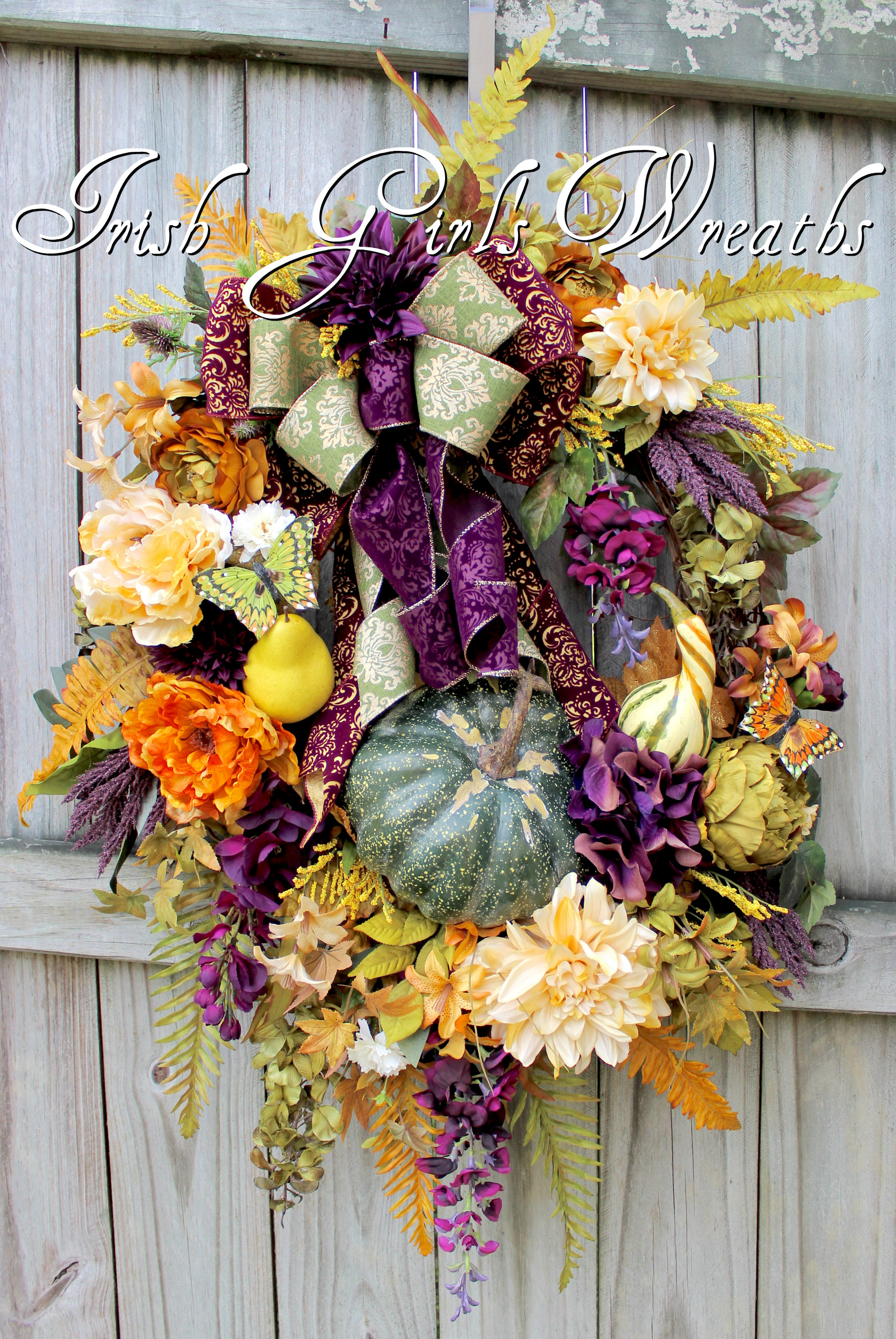 XXL Elegant Tuscan Fall Eggplant Purple, Gold and Green Pumpkin Wreath