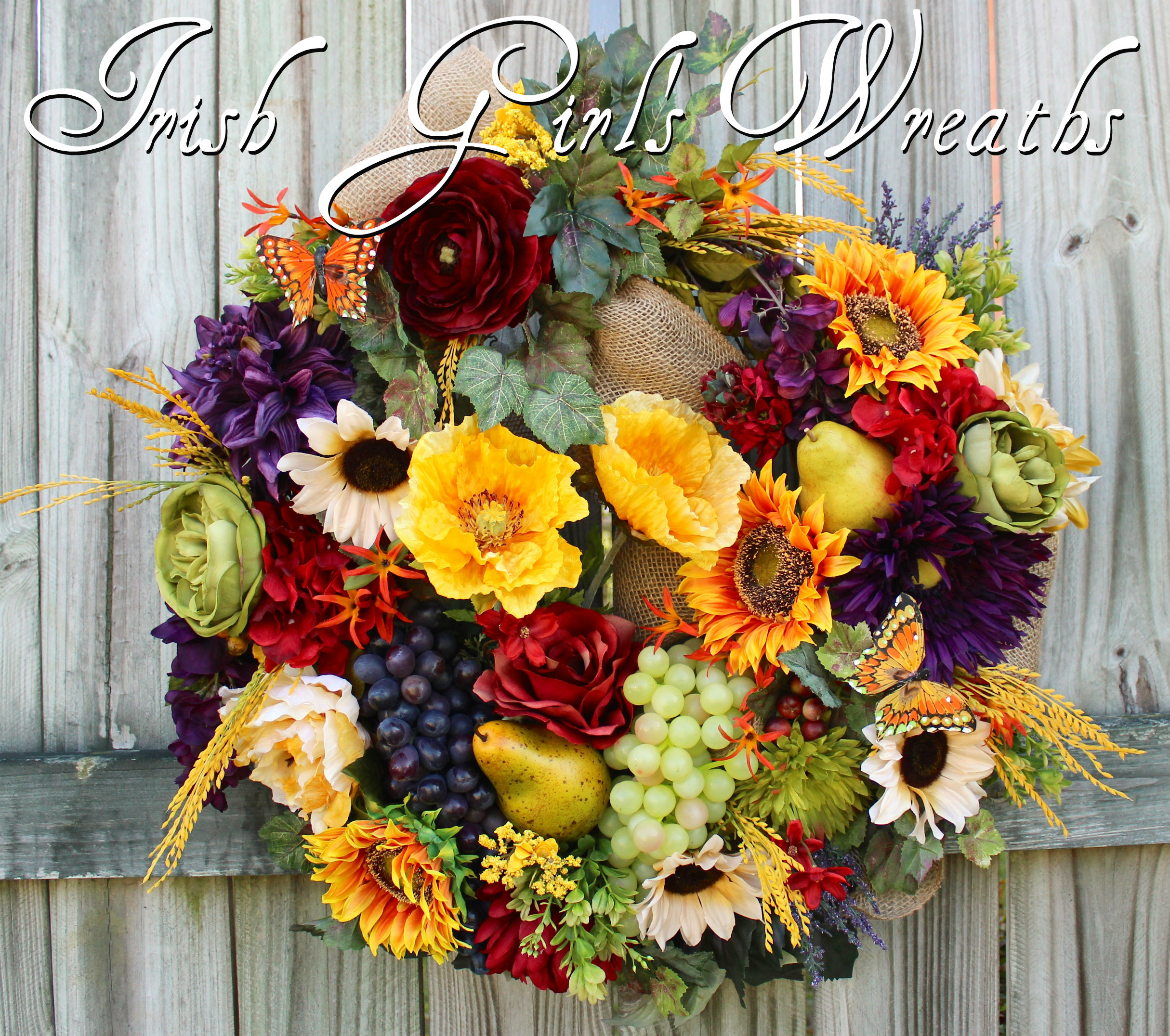 Deluxe Tuscan Wreath, Poppy and Sunflower French Country Wreath