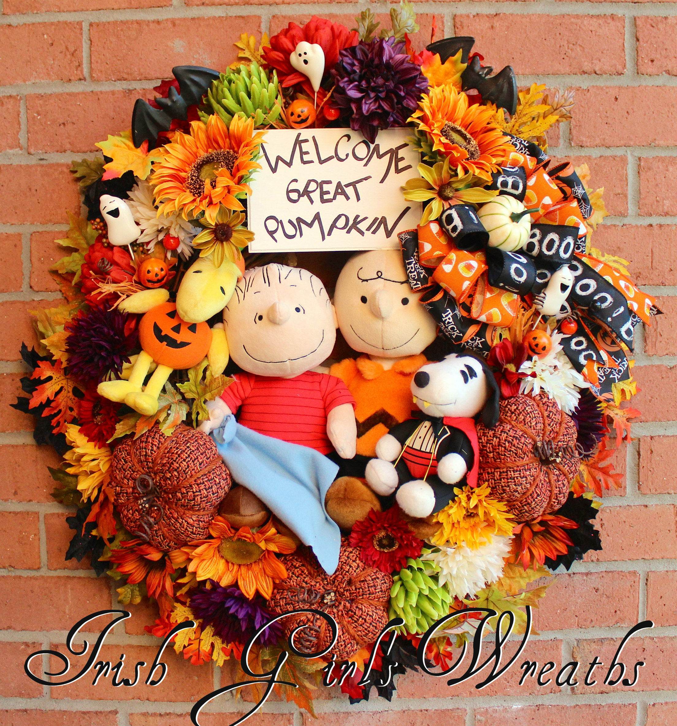 Welcome Great Pumpkin Peanuts Halloween Wreath, Custom for Kristin