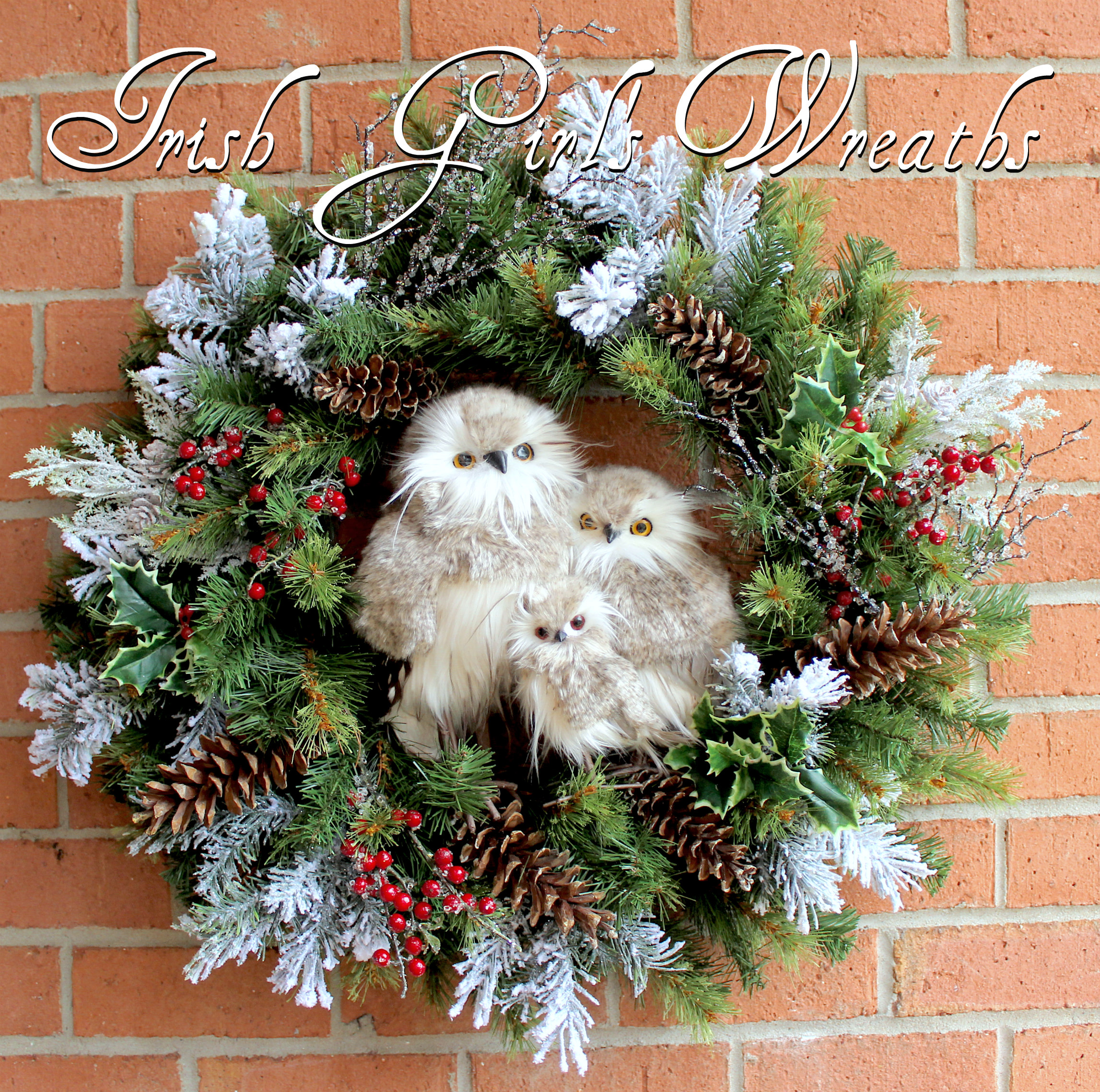 Large Woodland Owl Family Christmas Wreath