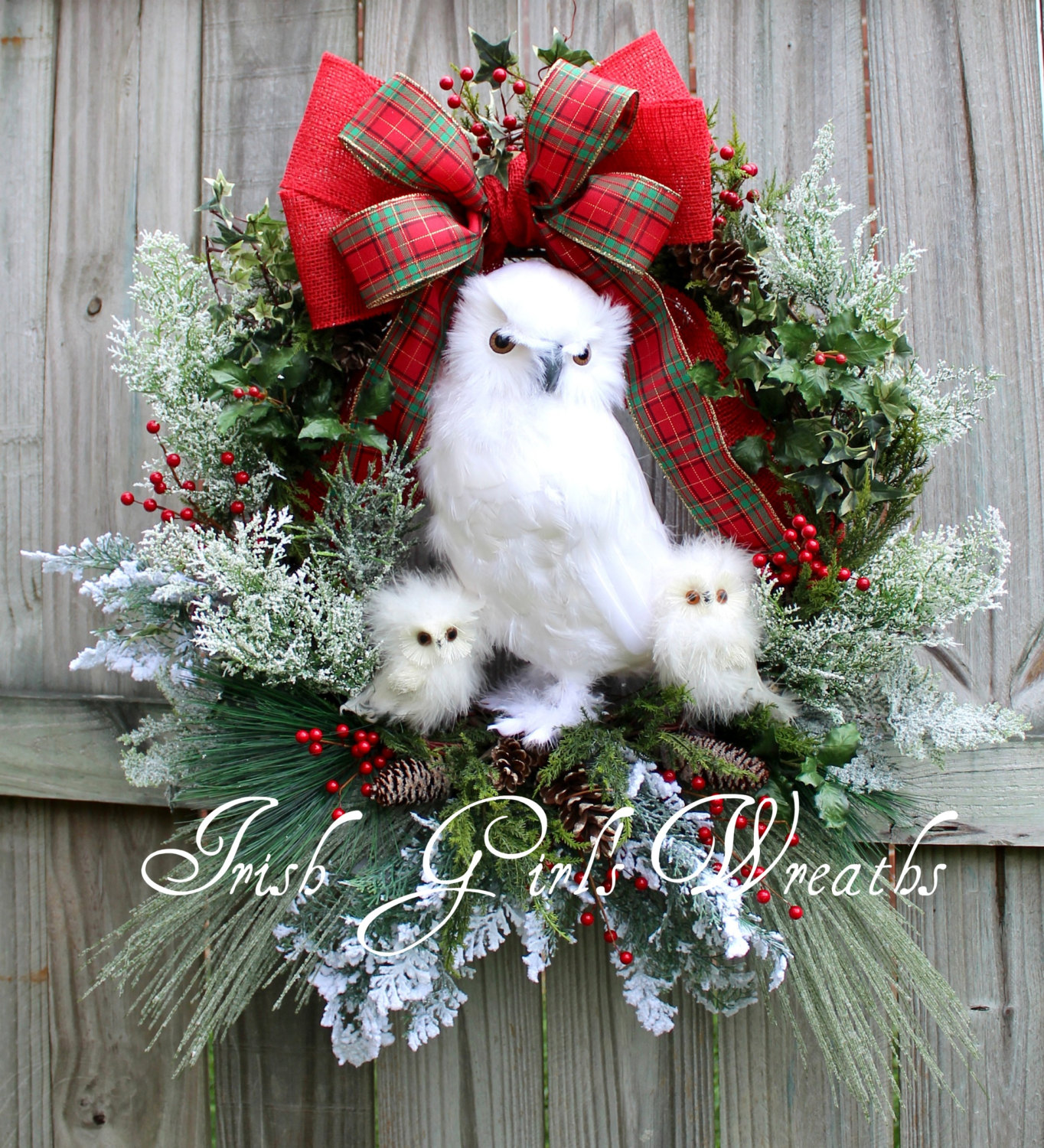 MADE To ORDER – XL Snow Owl Family Winter Christmas Wreath, Large, White owl, Rustic Woodland Cabin- Custom, Only 1 Available