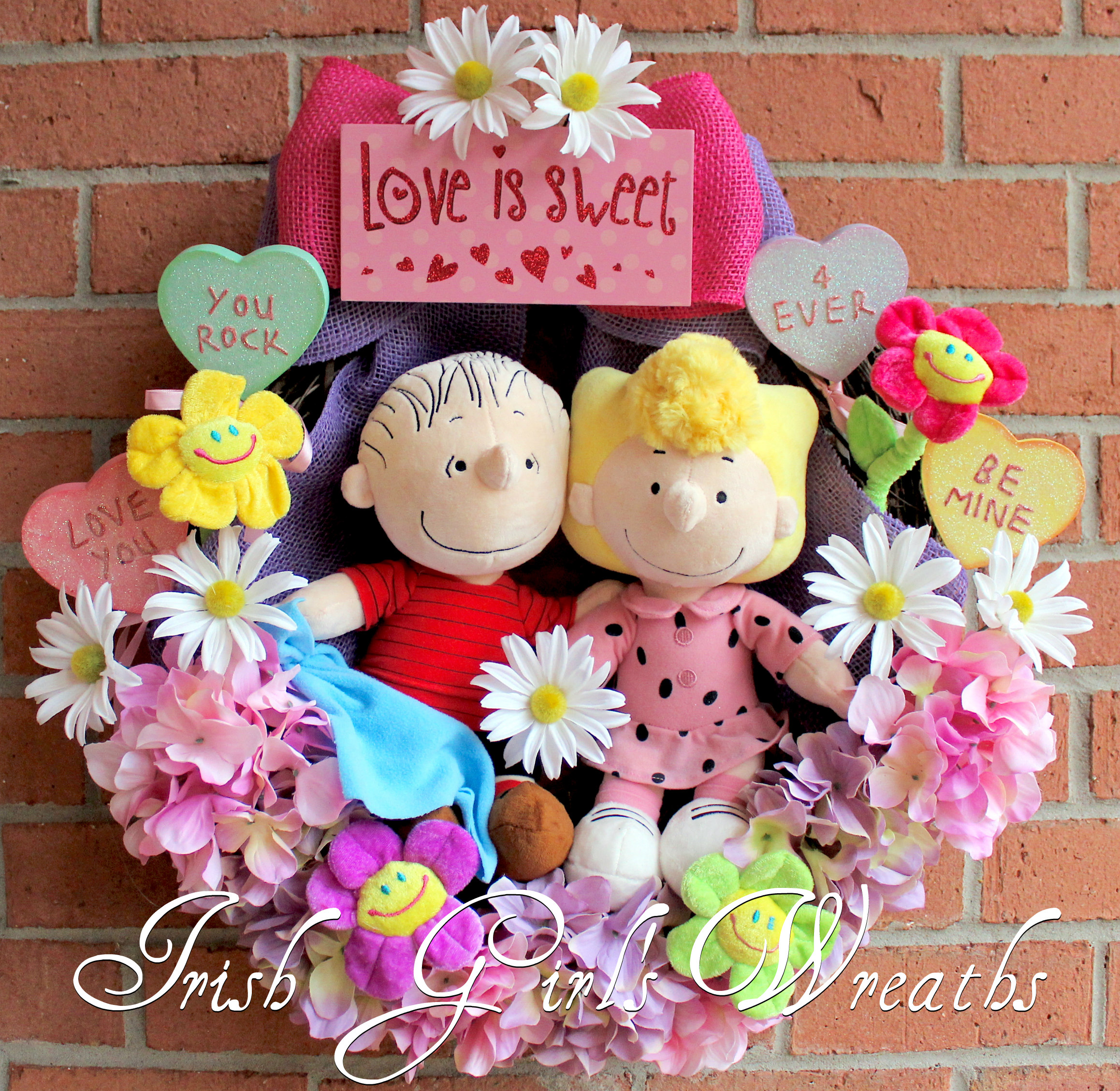 Peanuts Valentines Wreath, Sweet Babboo Sally and Linus Wreath, lavender, Pink, Purple Valentine decor, Conversation Hearts, Charles Schultz