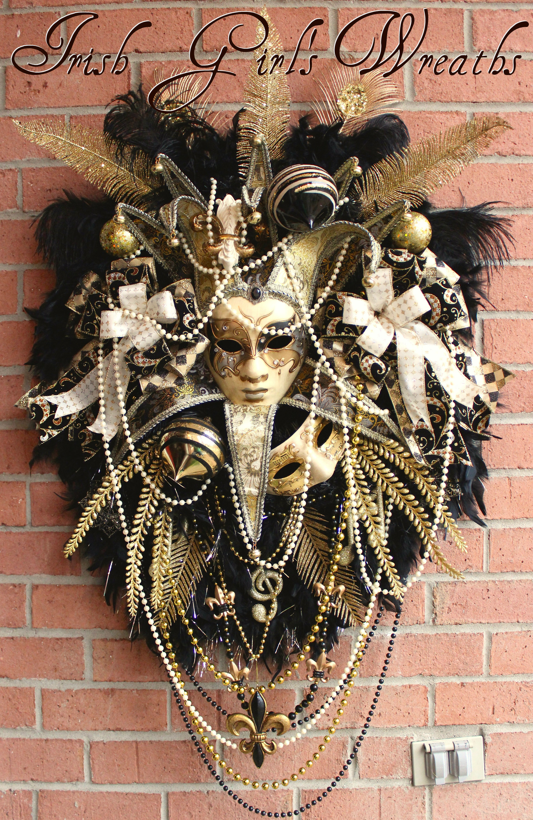 HUGE 2017 Black & Gold Mardi Gras Wreath, Saints, Fleur de Lis, Masquerade, Custom for Patti