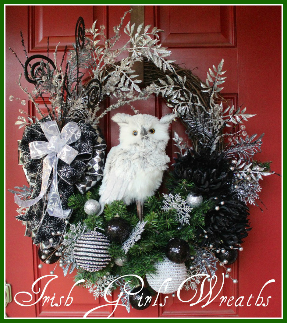 Black and Silver Glam Winter Owl Christmas Wreath