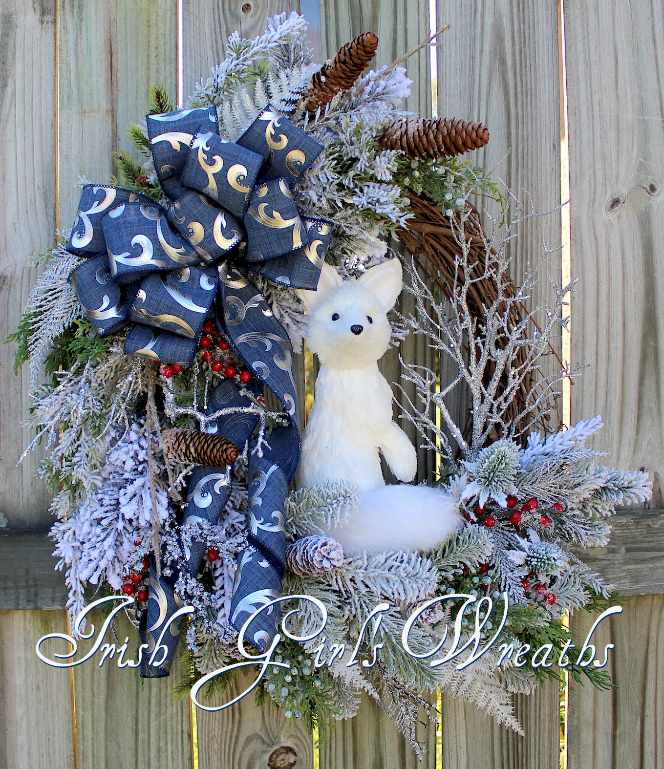 Woodland Winter Arctic Fox Wreath Blue and Silver, Rustic Fox Floral Christmas Wreath