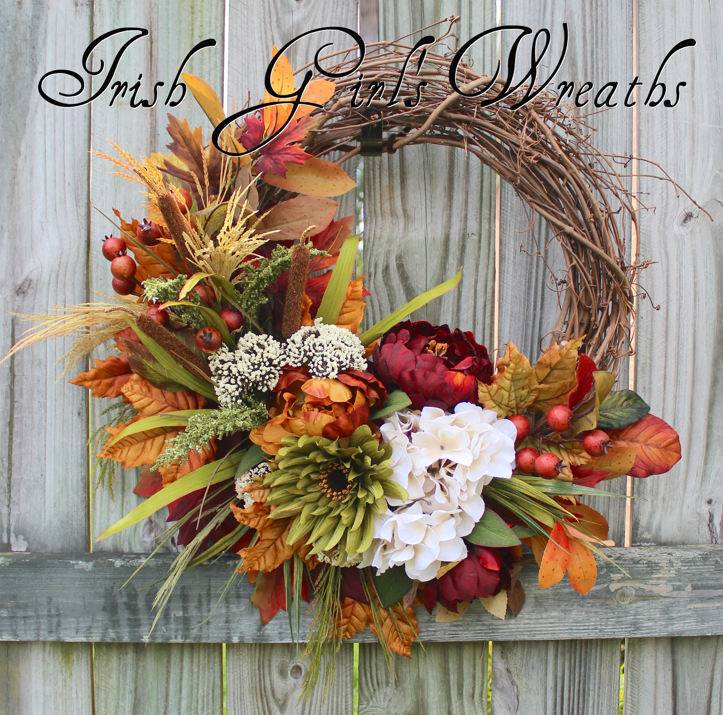 Burgundy Rust Moss and Ivory Fall Floral Wreath