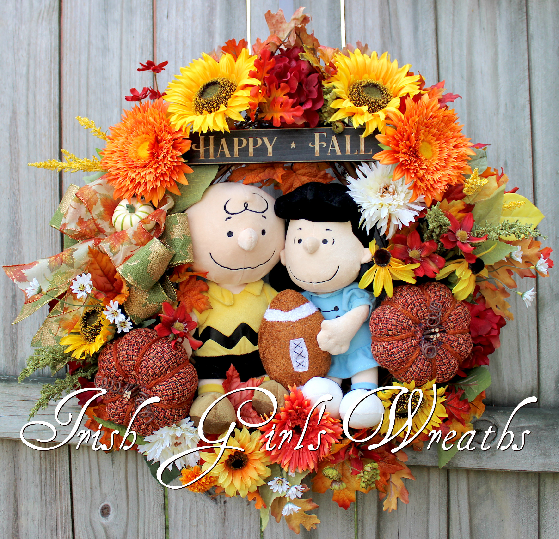 Peanuts Lucy and Charlie Brown Fall Football Wreath