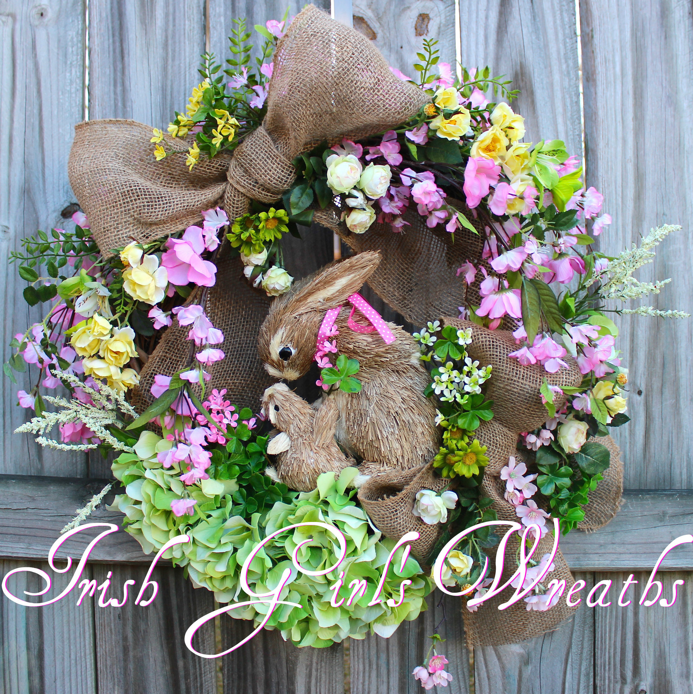 MADE TO ORDER Cherry Blossom Rambling Rose Bunny Rabbit Spring Wreath