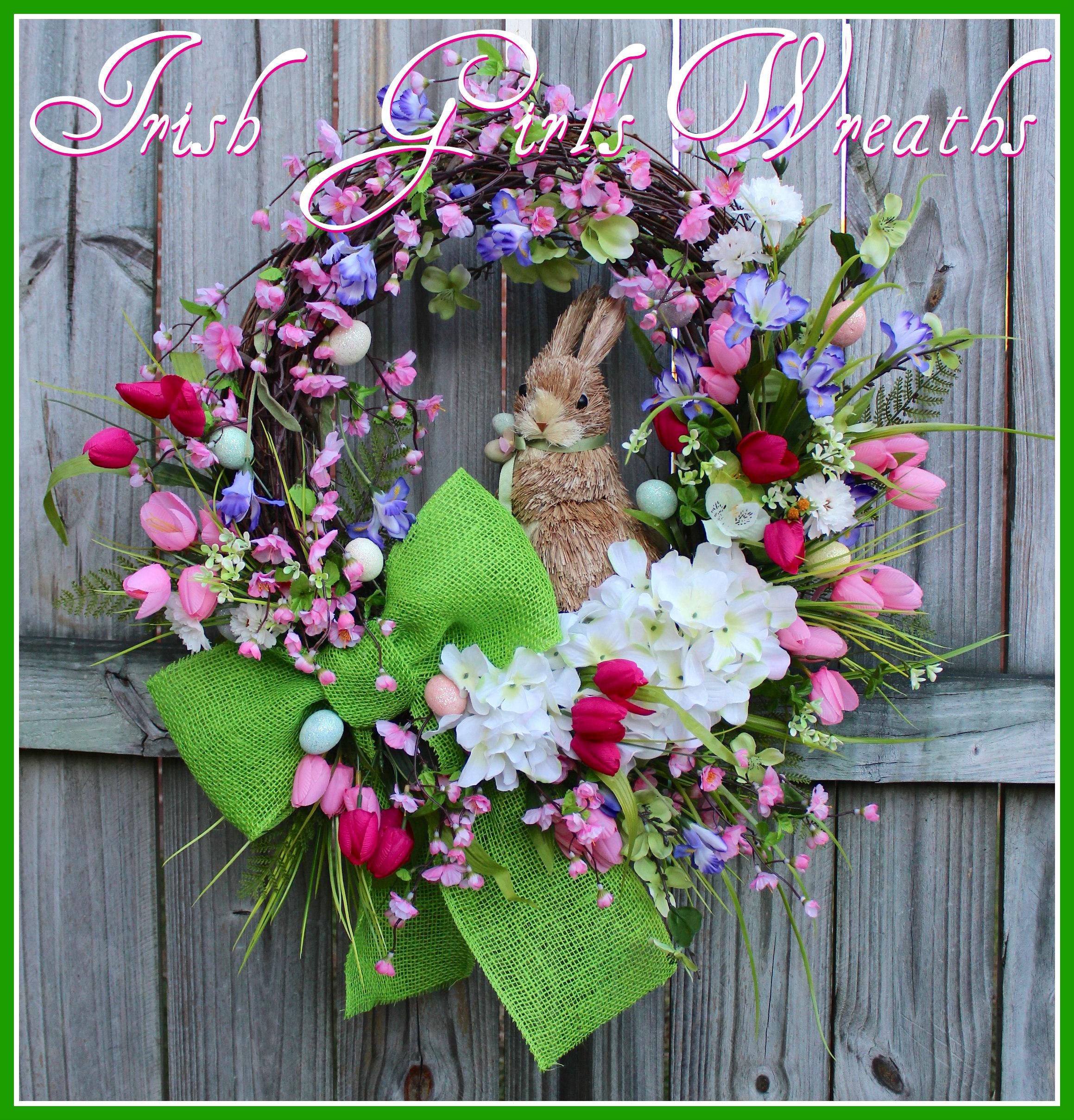 Cherry Blossom Easter Bunny Wreath, Spring Iris Tulip Hydrangea