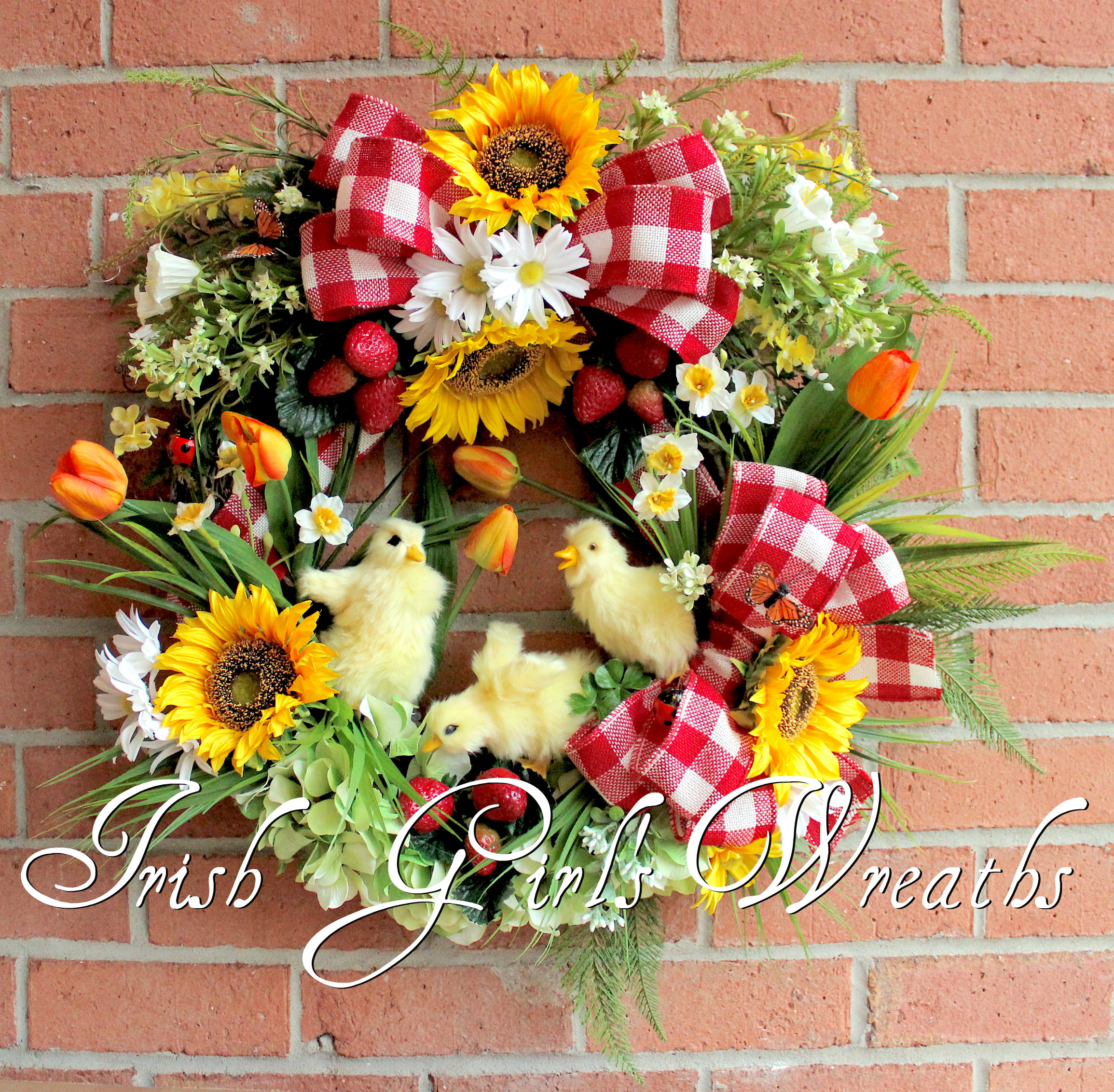 Spring Ducklings on the Farm Wreath, Custom for Claire