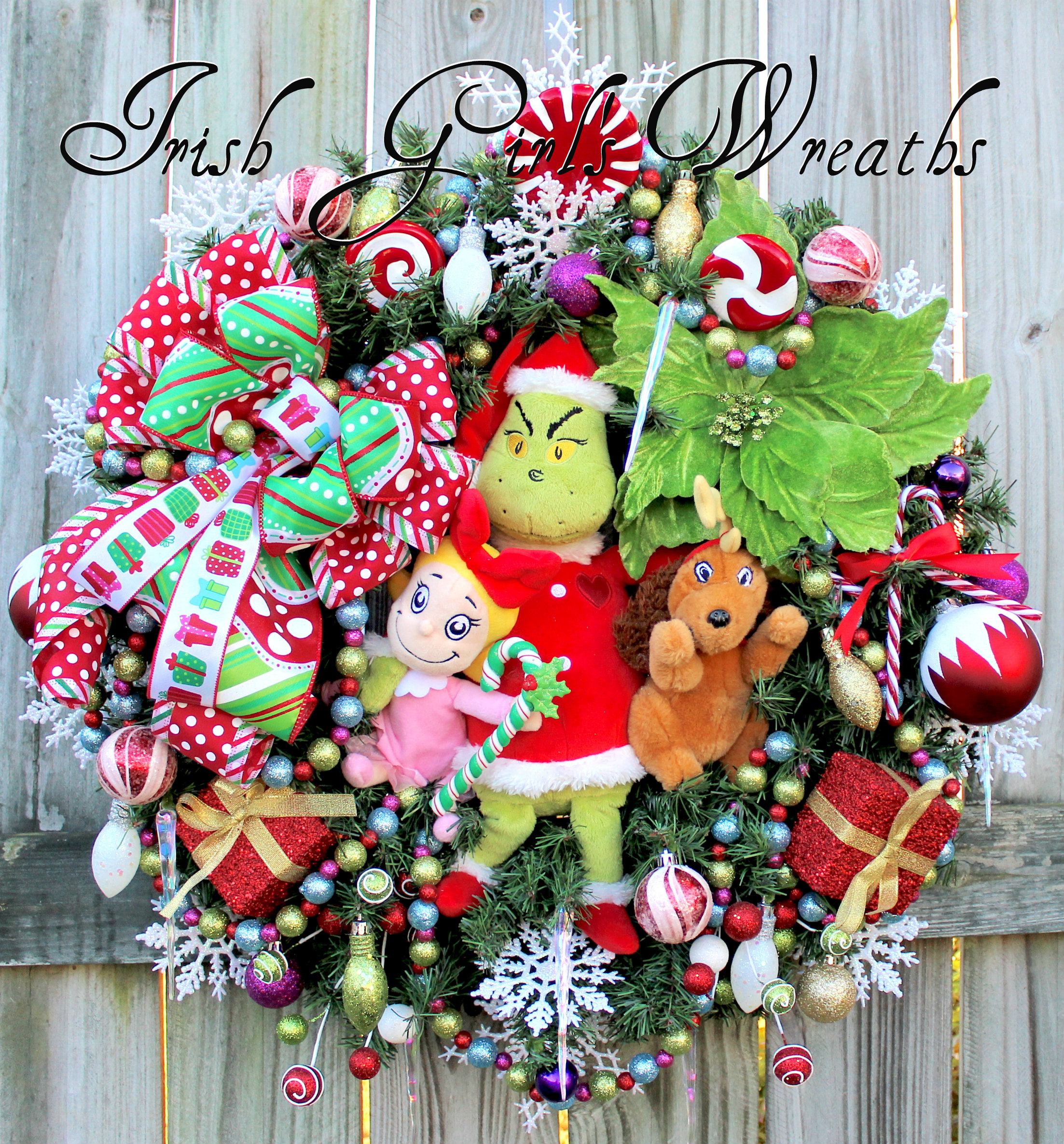Colorful Grinch & Max & Cindy Lou Who Christmas Wreath #2