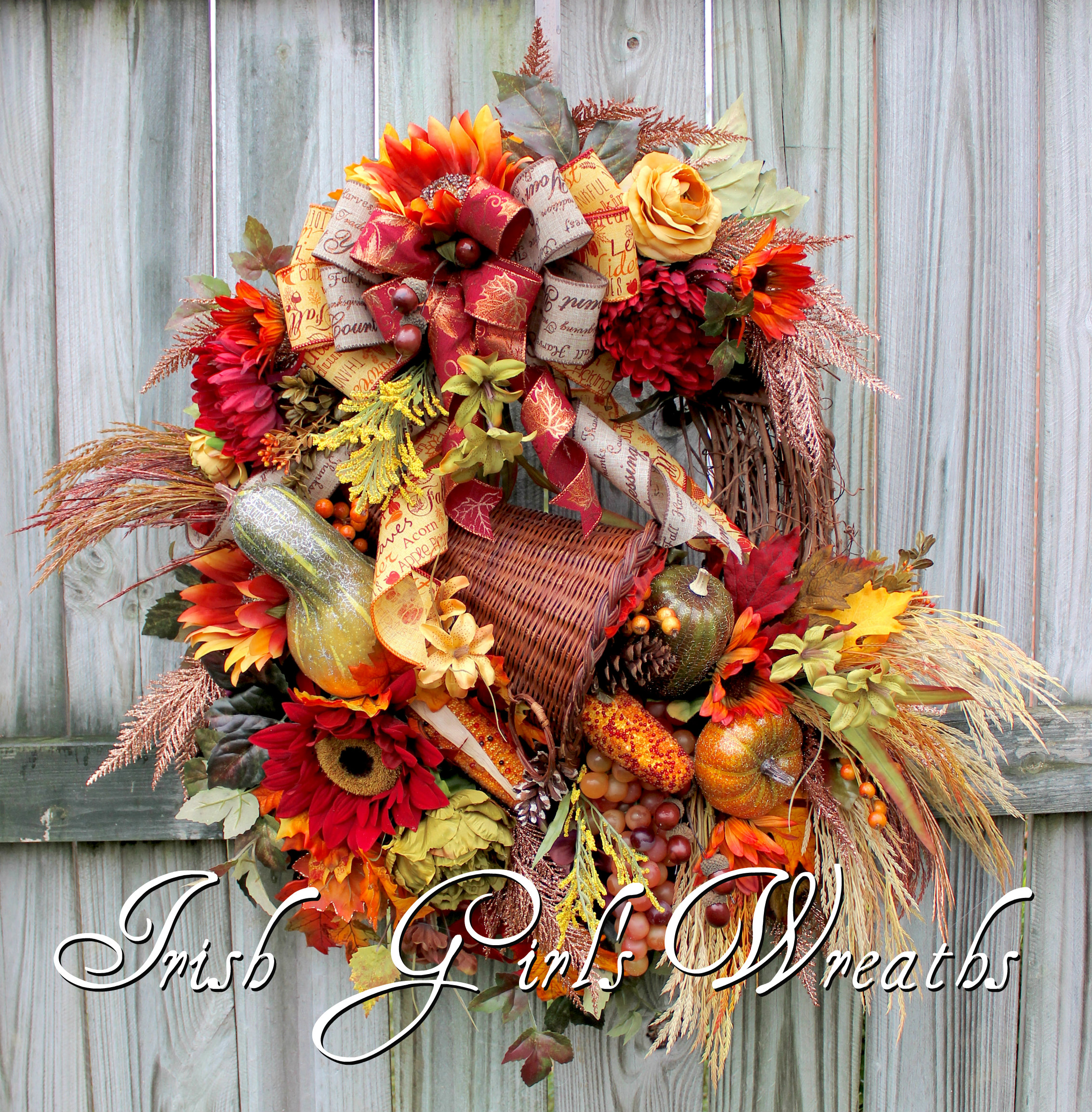 XXL Deluxe Copper Harvest Cornucopia Floral Wreath, Large Autumn Thanksgiving Wreath