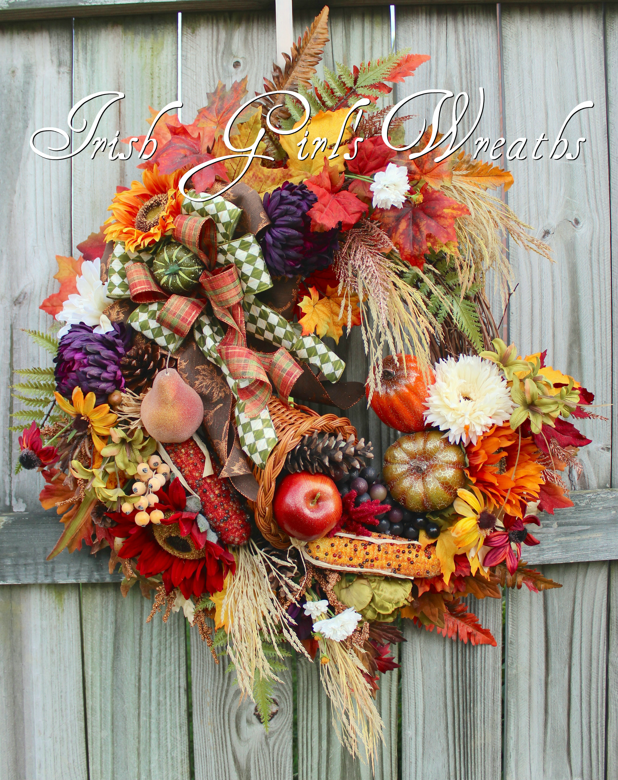 Elegant Fall Cornucopia Wreath, Large Autumn Bounty Thanksgiving Harvest Wreath