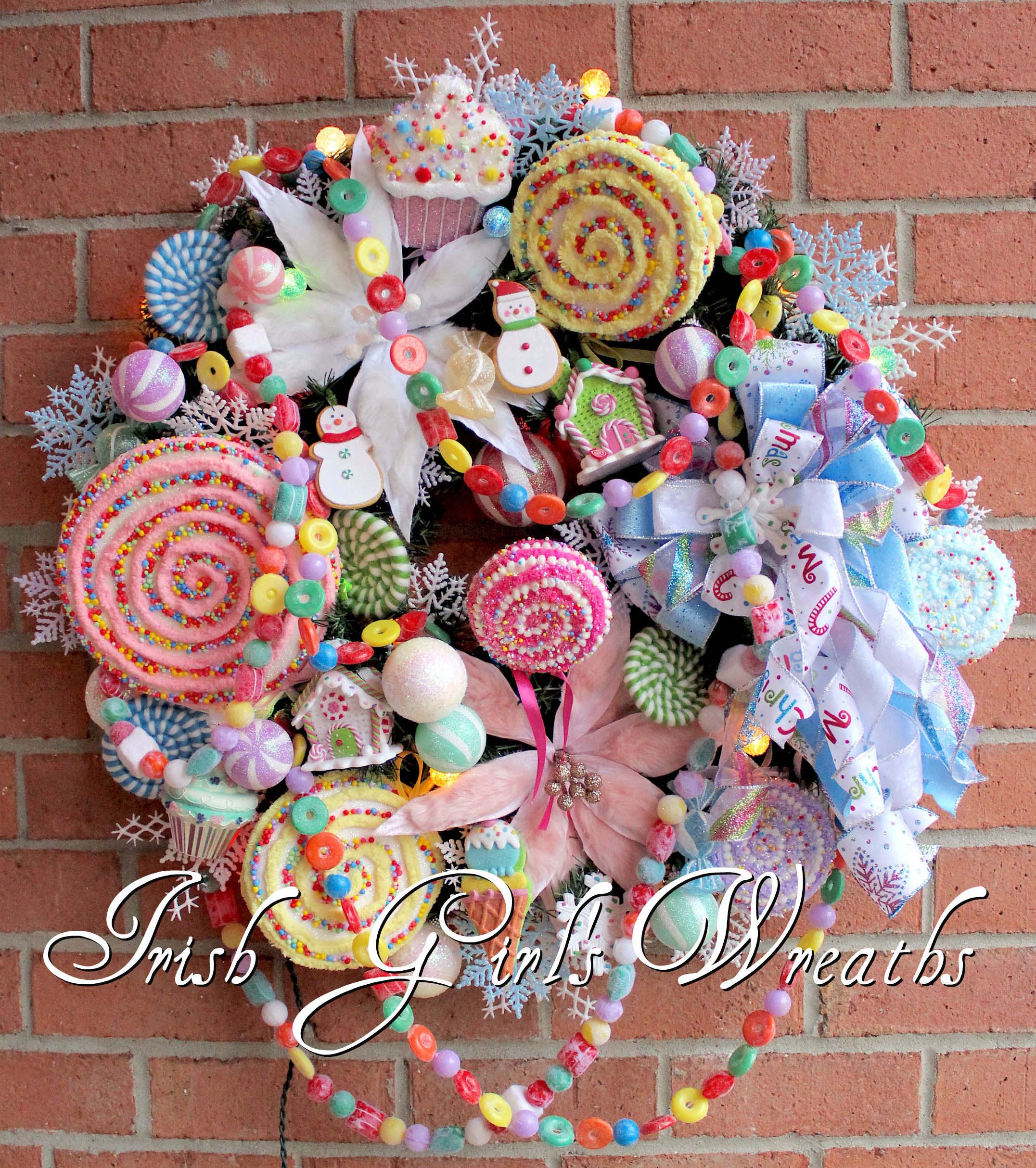 Pastel Candy Christmas Wreath, Custom Order for Kathy