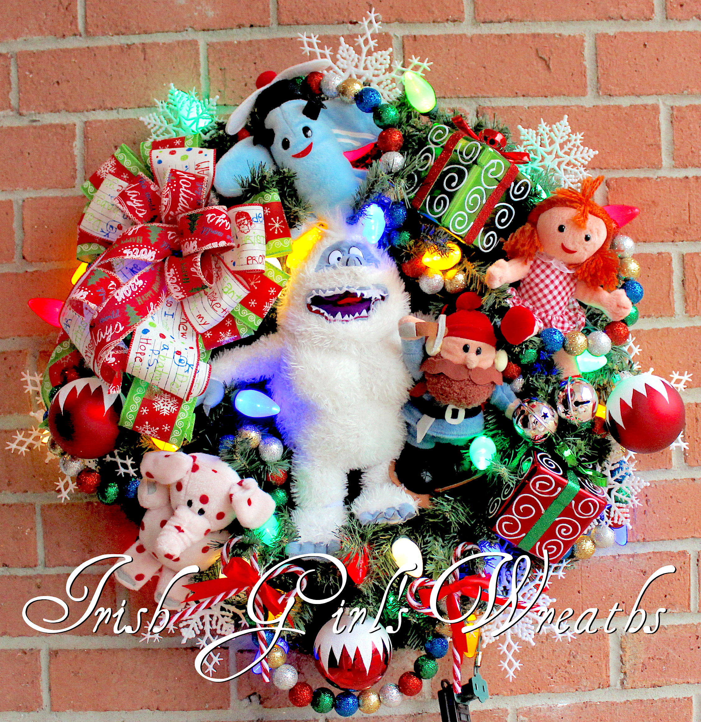 Bumble SnowMonster and Misfit Toys Christmas Wreath, Custom order for Devon