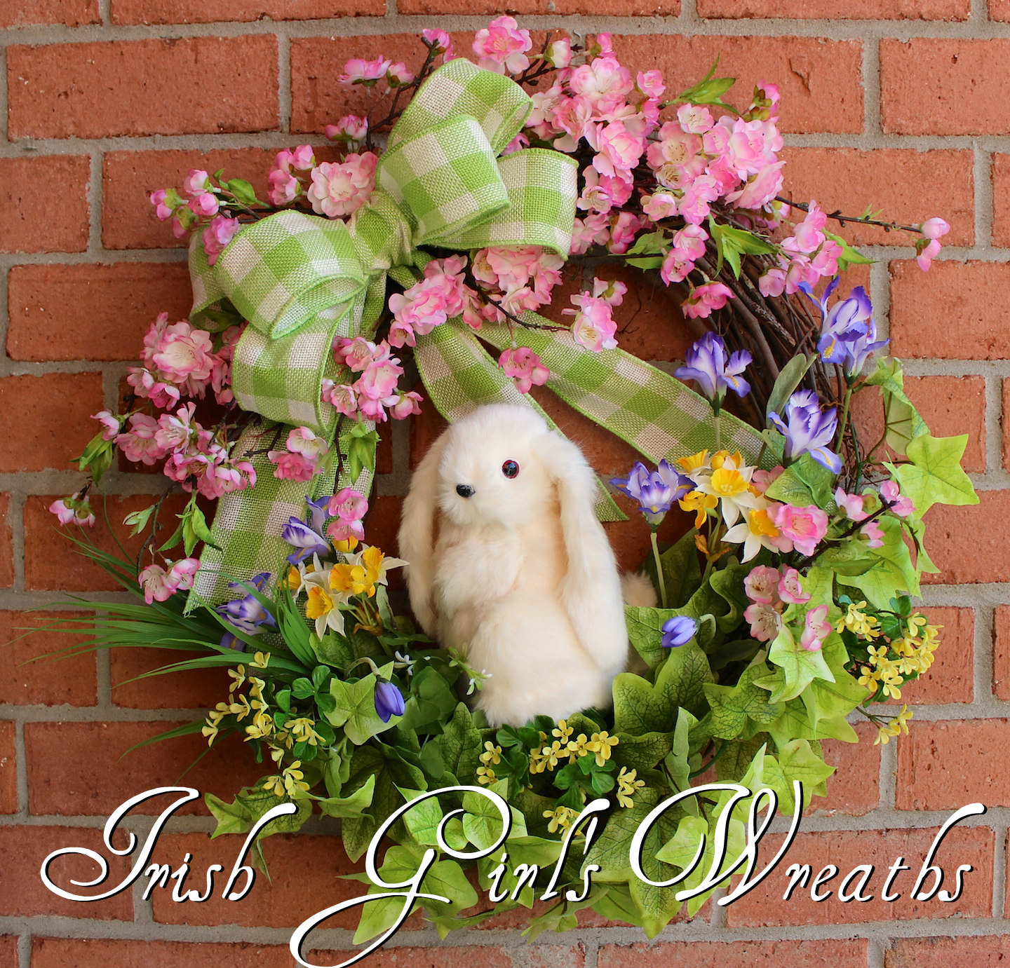 Cherry Blossom Floppy Eared Bunny Wreath, Spring Cottage Garden Easter Wreath