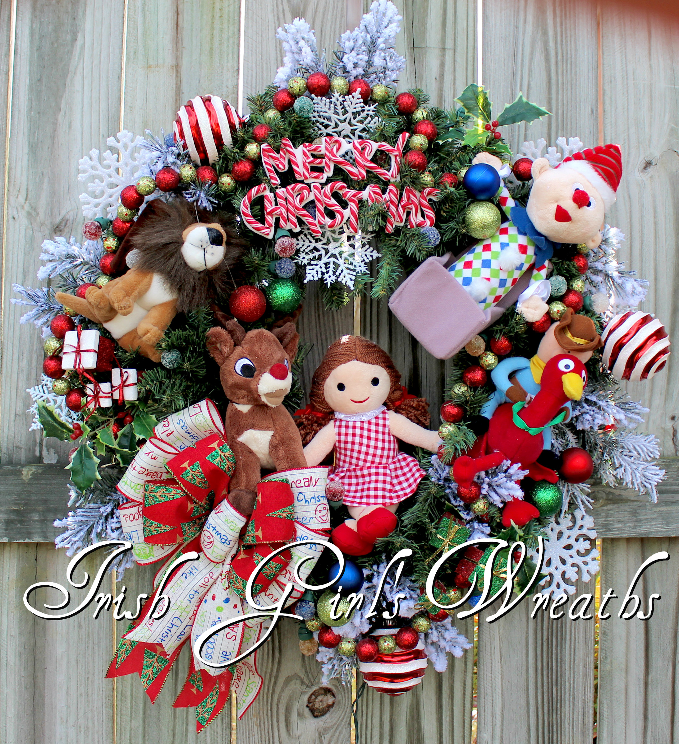 Deluxe Island of Misfit Toys Christmas Wreath- Custom for Heather