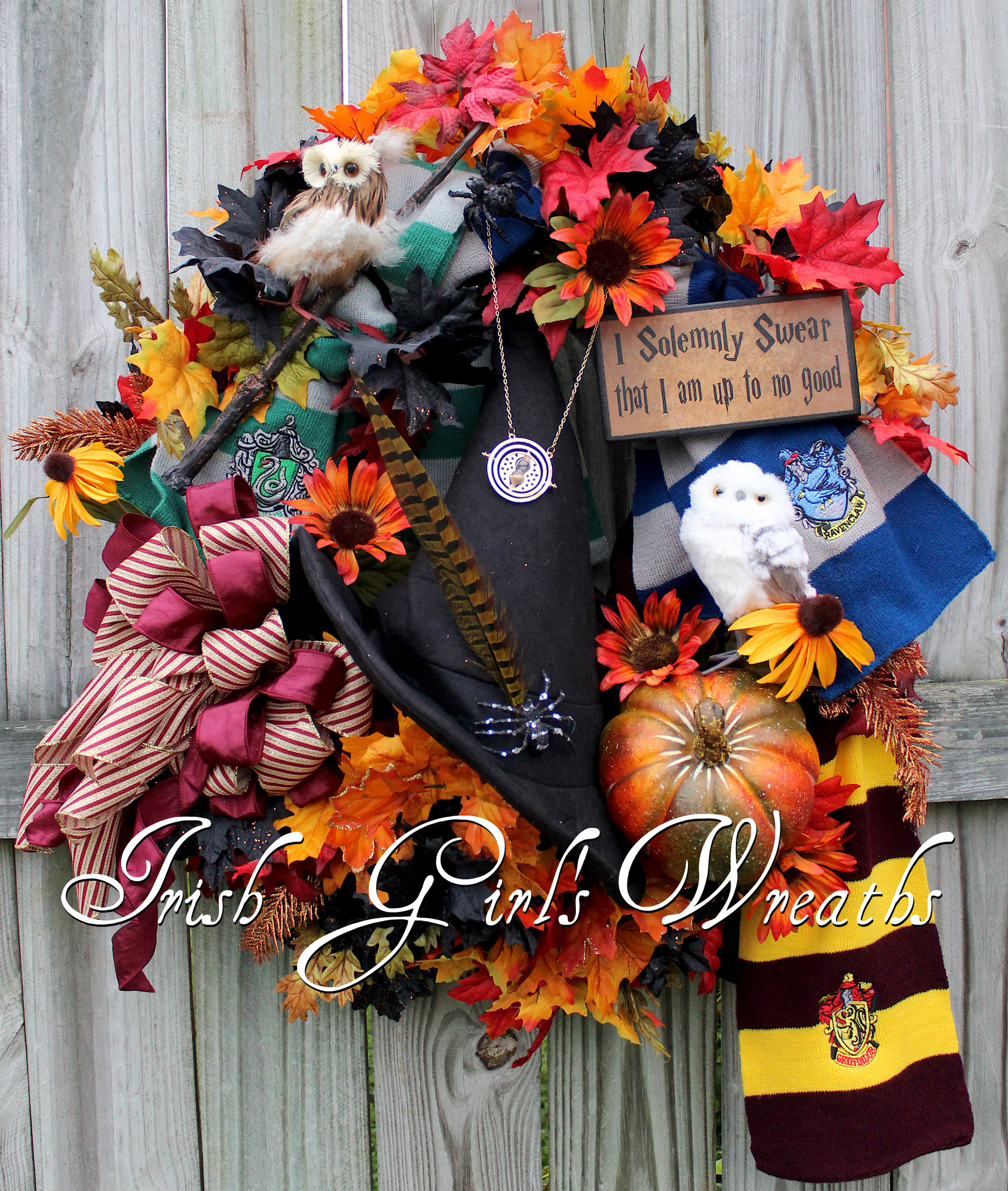 XL Hogwarts House Halloween Wreath, Harry Potter Wreath