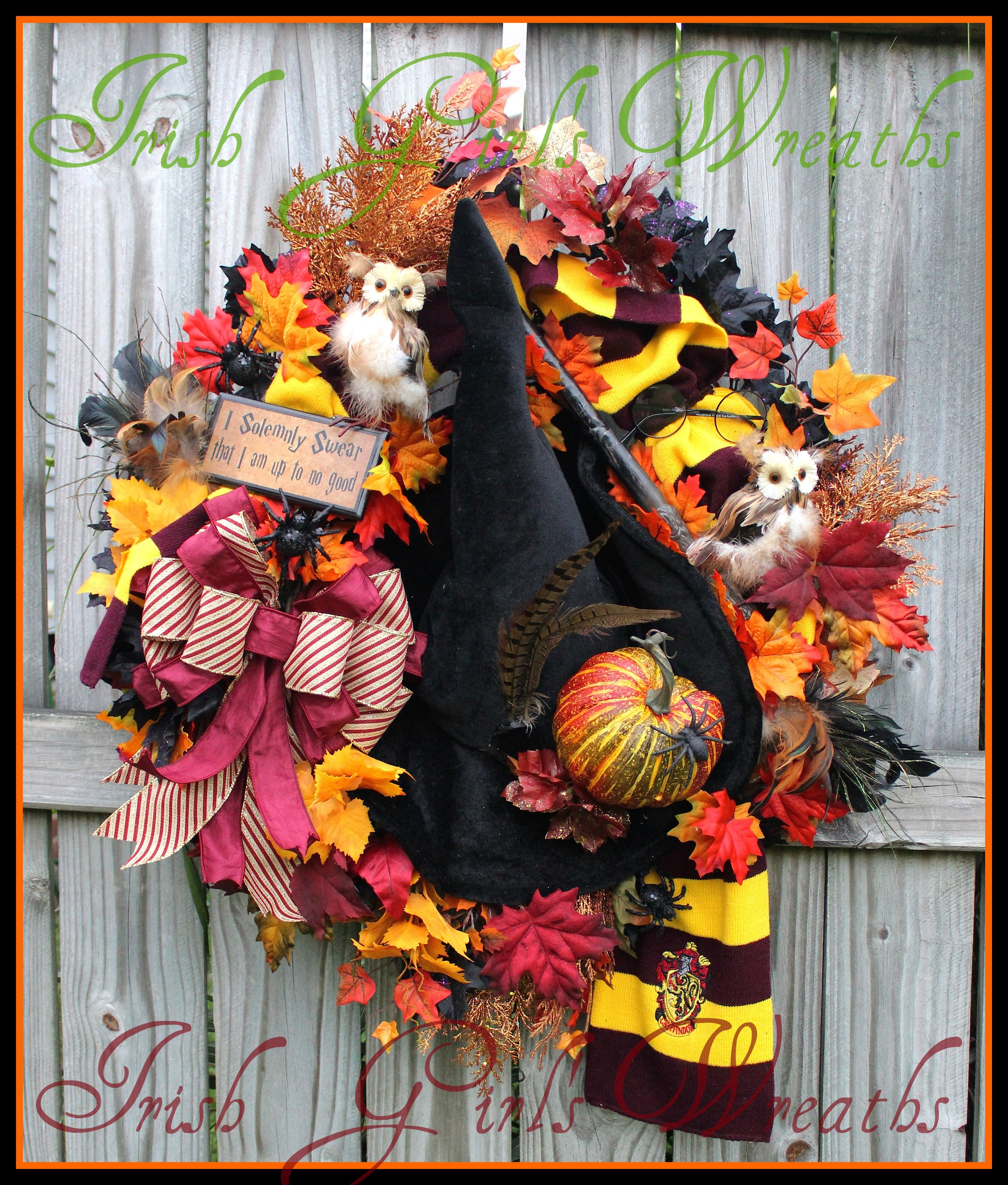 XL Hogwarts Harry Potter Halloween Wreath, Gryffindor Scarf, Owl, Wizard, I Solemnly Swear I'm Up to No Good plaque
