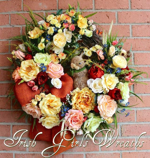 Summer Cottage Rose Garden Wreath for Joan