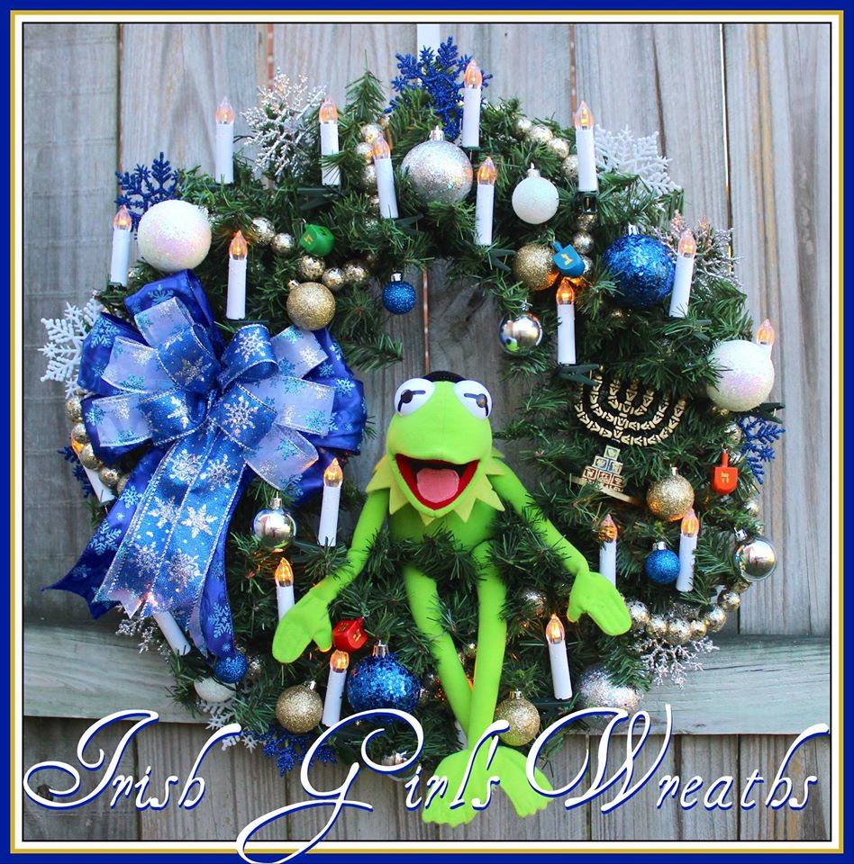 Kermit the Frog Hanukkah Wreath, Custom for Amanda