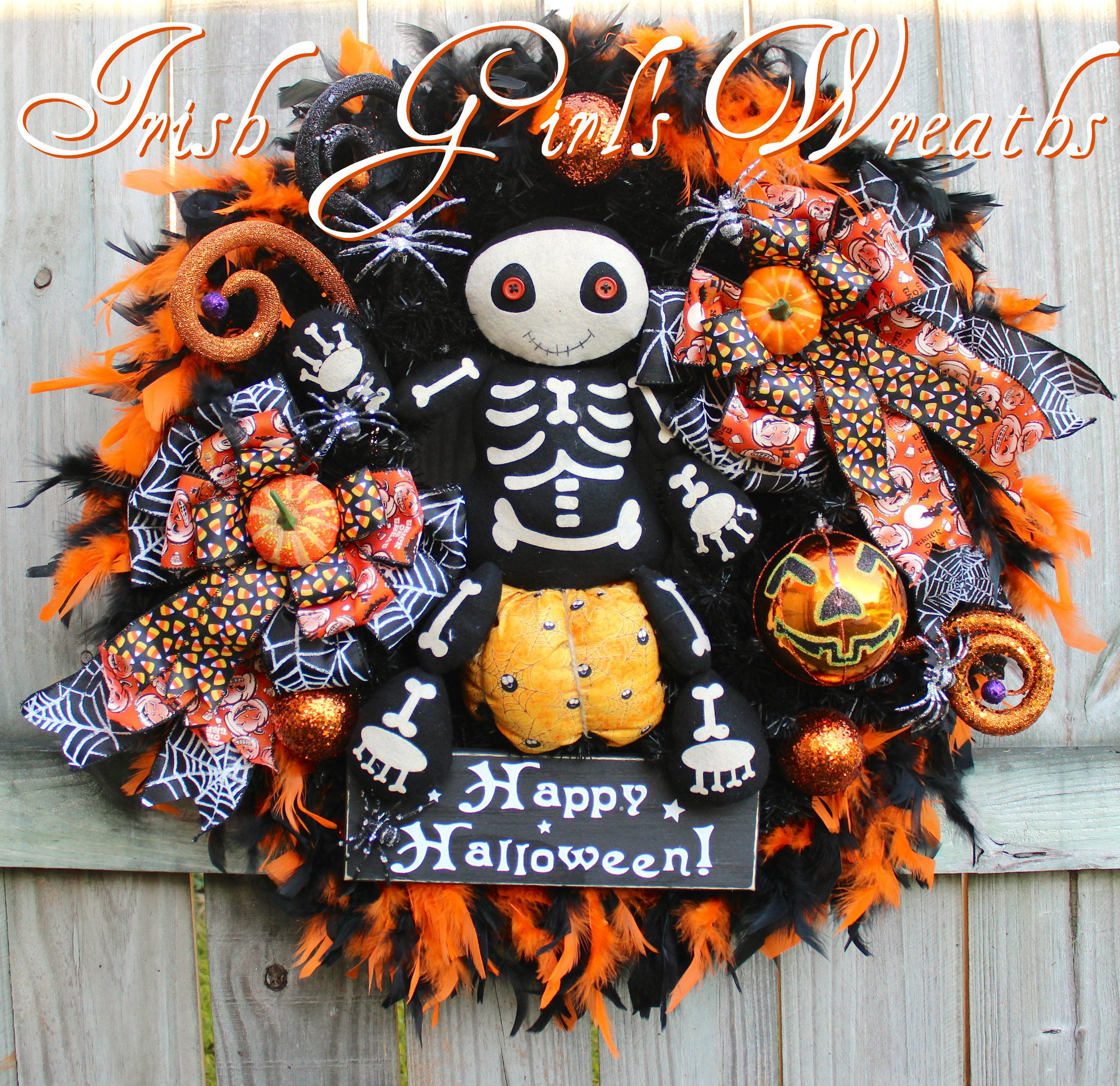 Adorable Skeleton Halloween Wreath, Spider, Plush Pumpkin, Orange & Black