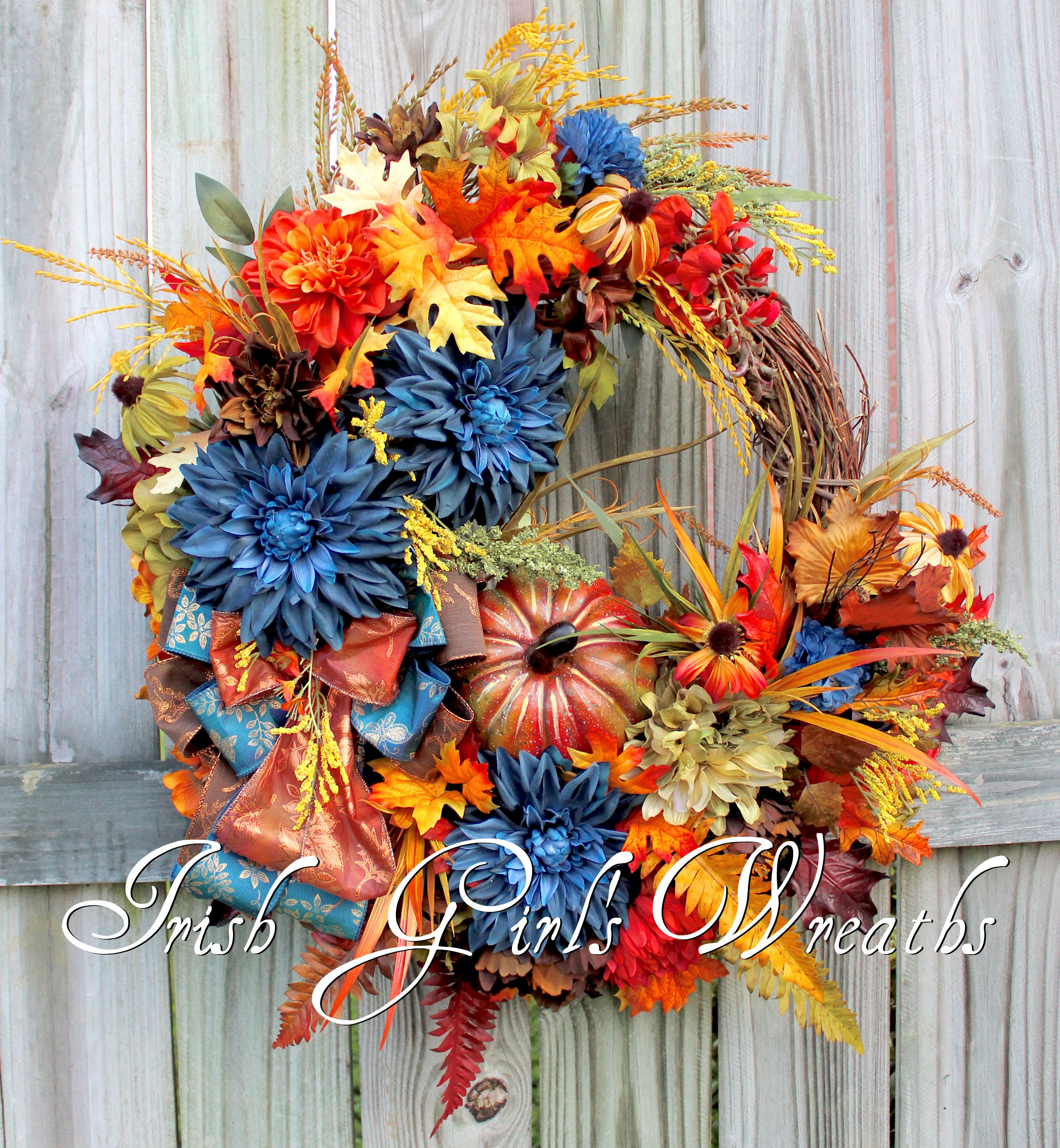 Tuscan Autumn Peacock Teal Blue Beauty Wreath, Rust, Moss, Chocolate brown Large Wreath