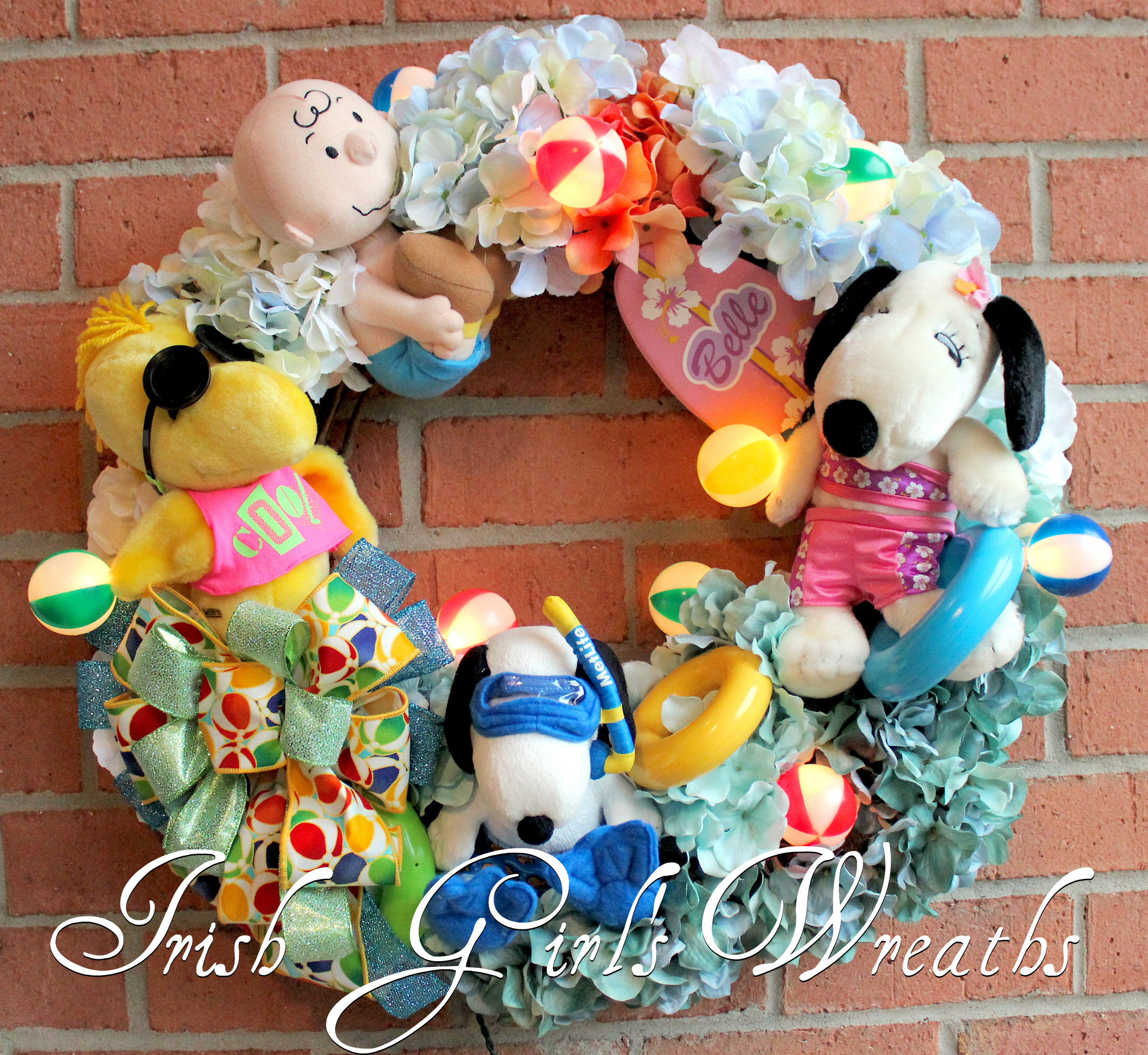 Peanuts Gang Pool Party Wreath, Custom Order for Jessica!