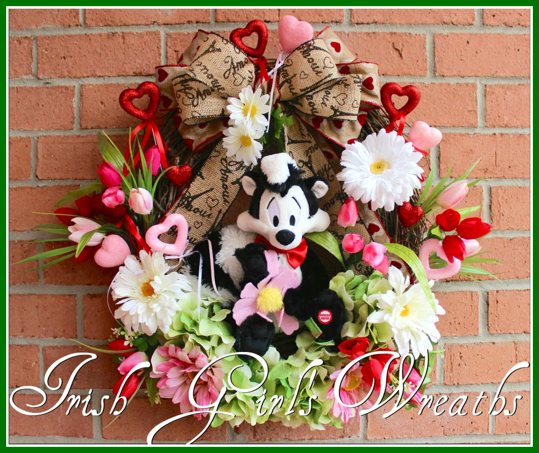 MADE to ORDER -Pepe Le Pew Valentine Wreath