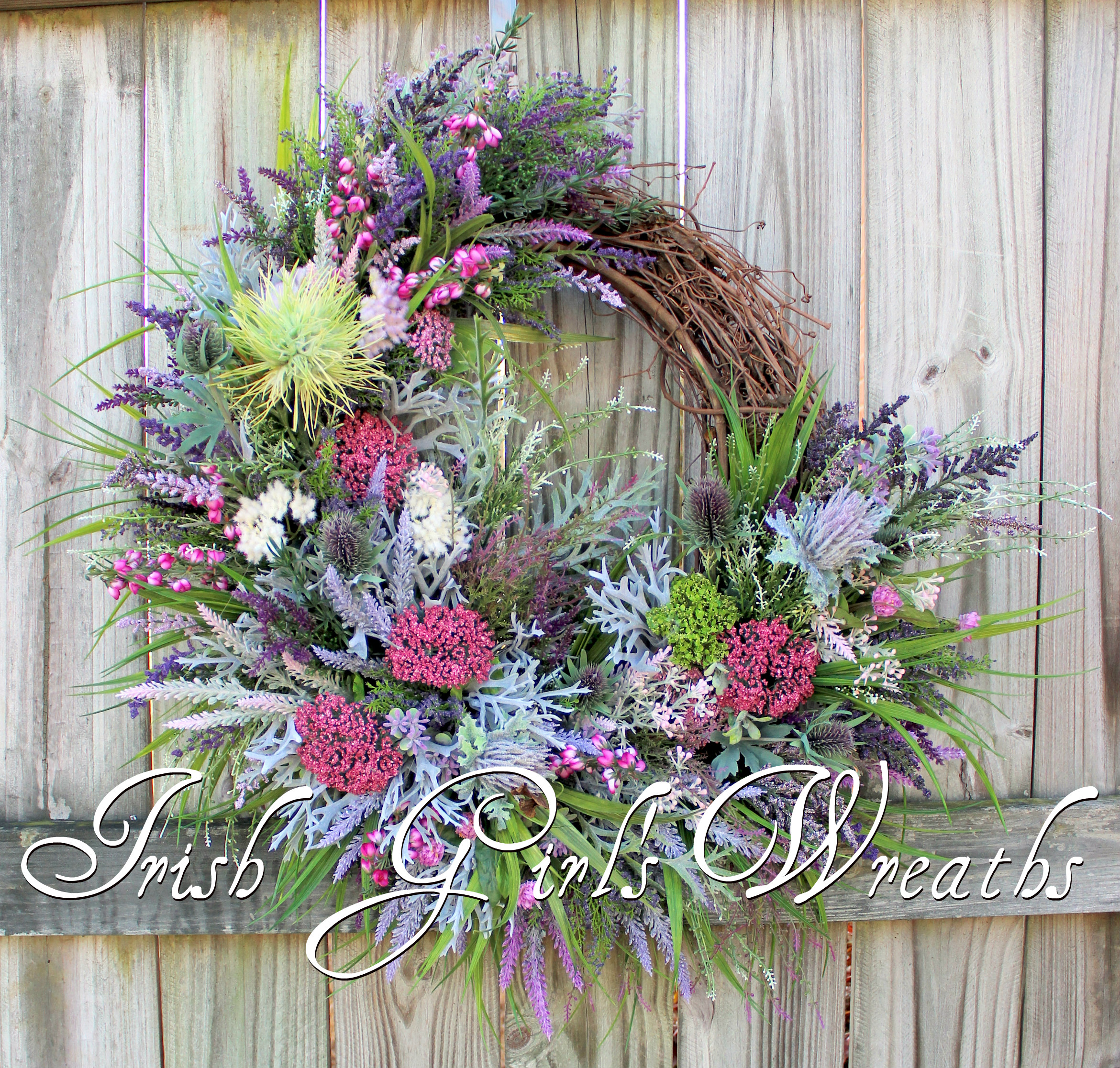 Scottish Thistle & Heather Coastal Wreath, Pink Purple Highland Scotland Decor