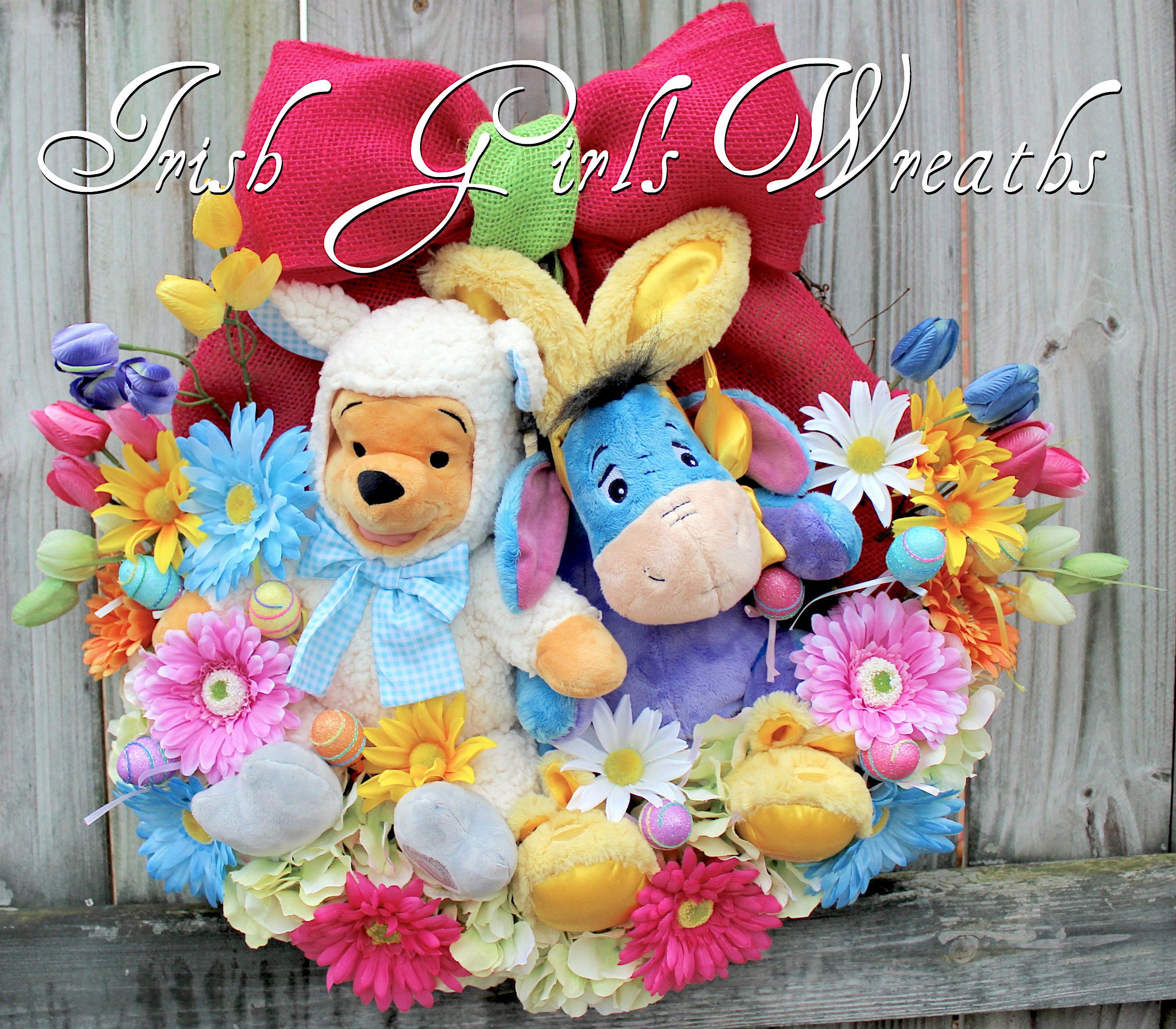 Winnie the Pooh and Eeyore Easter Wreath, Disney Easter Wreath, plush Lamb Pooh, Bunny Pajamas Eeyore