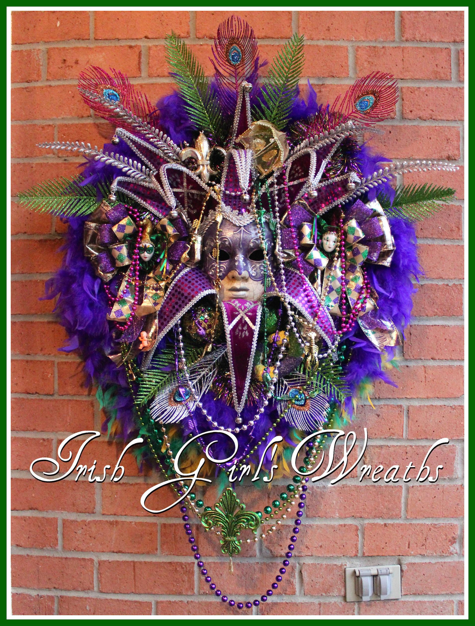 HUGE Purple Venetian Mask Deluxe Mardi Gras Carnival Wreath, Masquerade