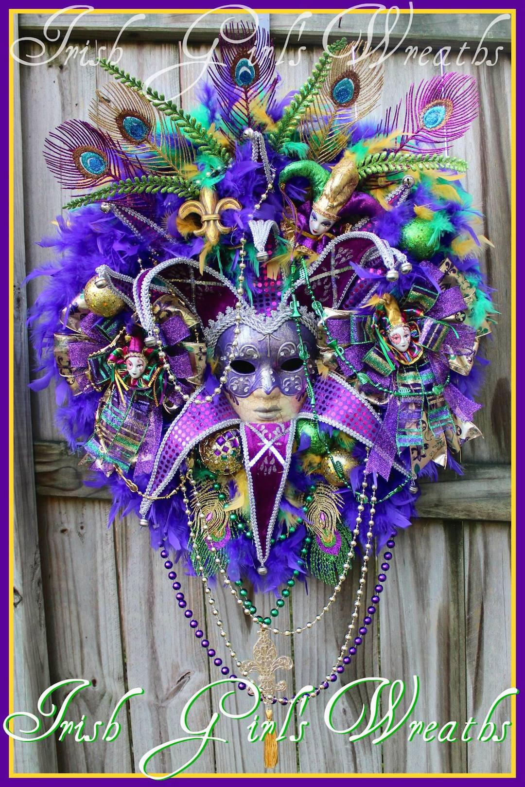 XL Purple & Teal Mardi Gras Wreath, Female Jester Mask Masquerade Wreath