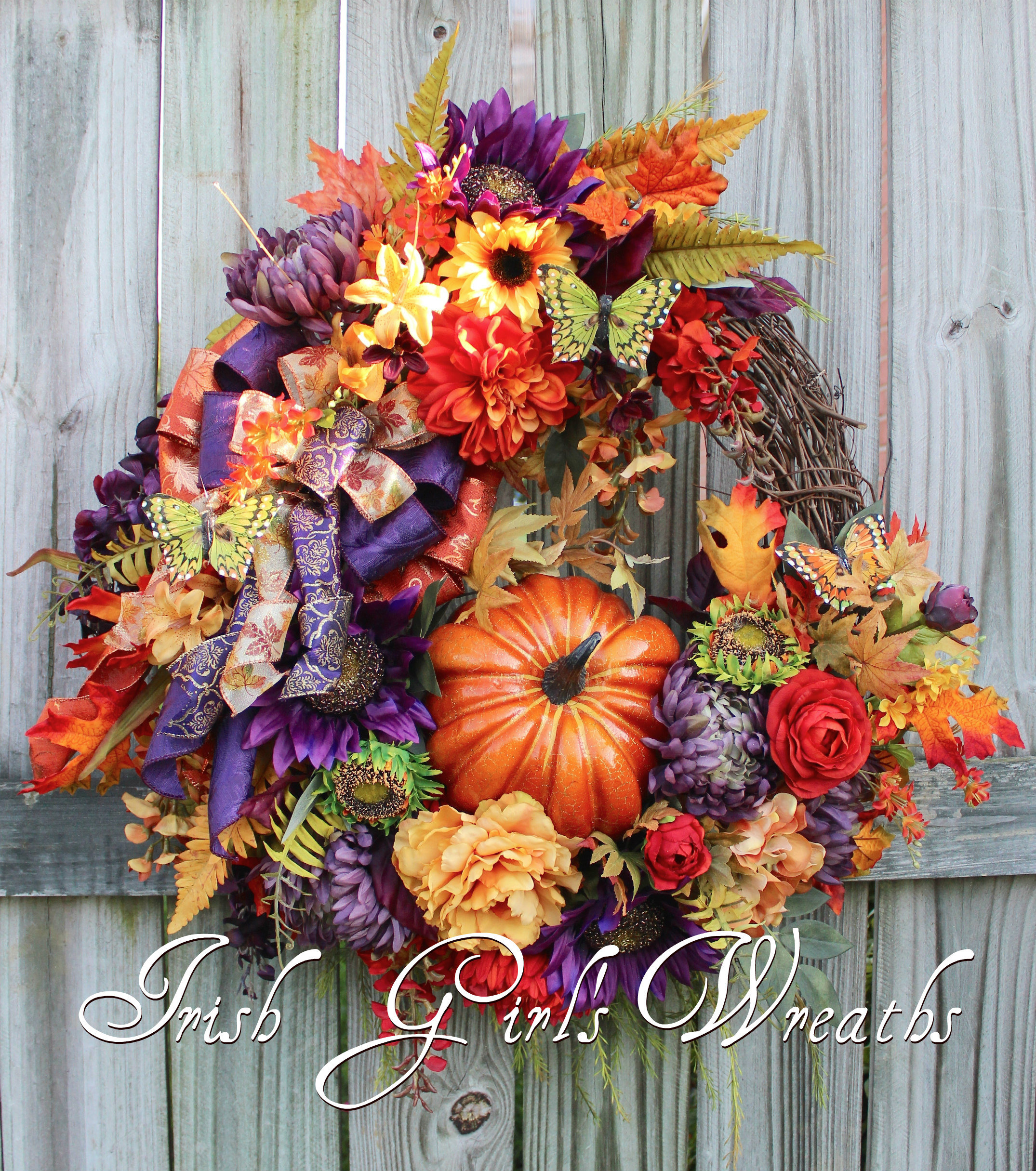 Elegant Purple Rust and Gold XL Tuscan Fall Floral Pumpkin Wreath