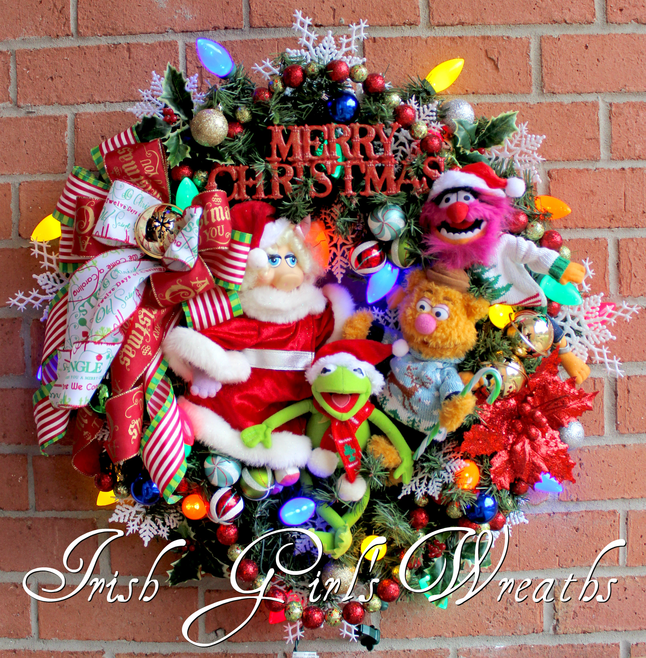 Muppet Merry Christmas Wreath, Kermit, Fozzie Bear, Miss Piggy, Animal, Jim Hensen, Ugly Christmas Sweaters