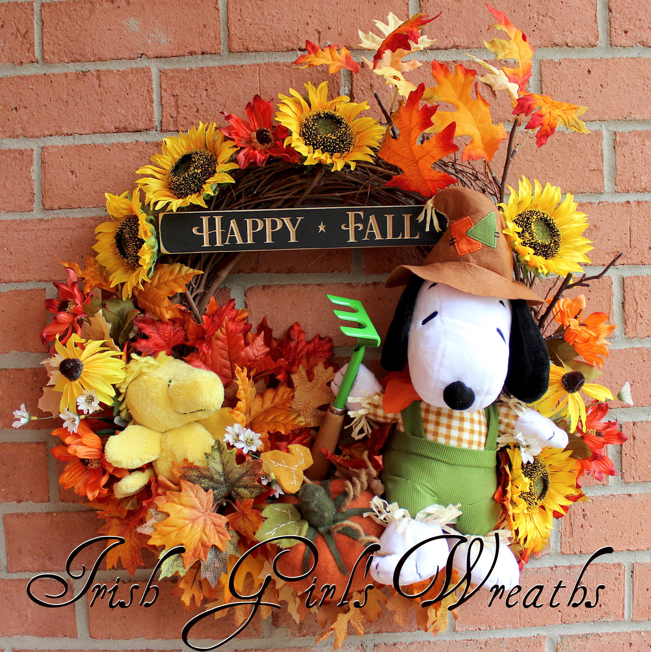 Snoopy Rakes While Woodstock Plays Peanuts Fall Wreath